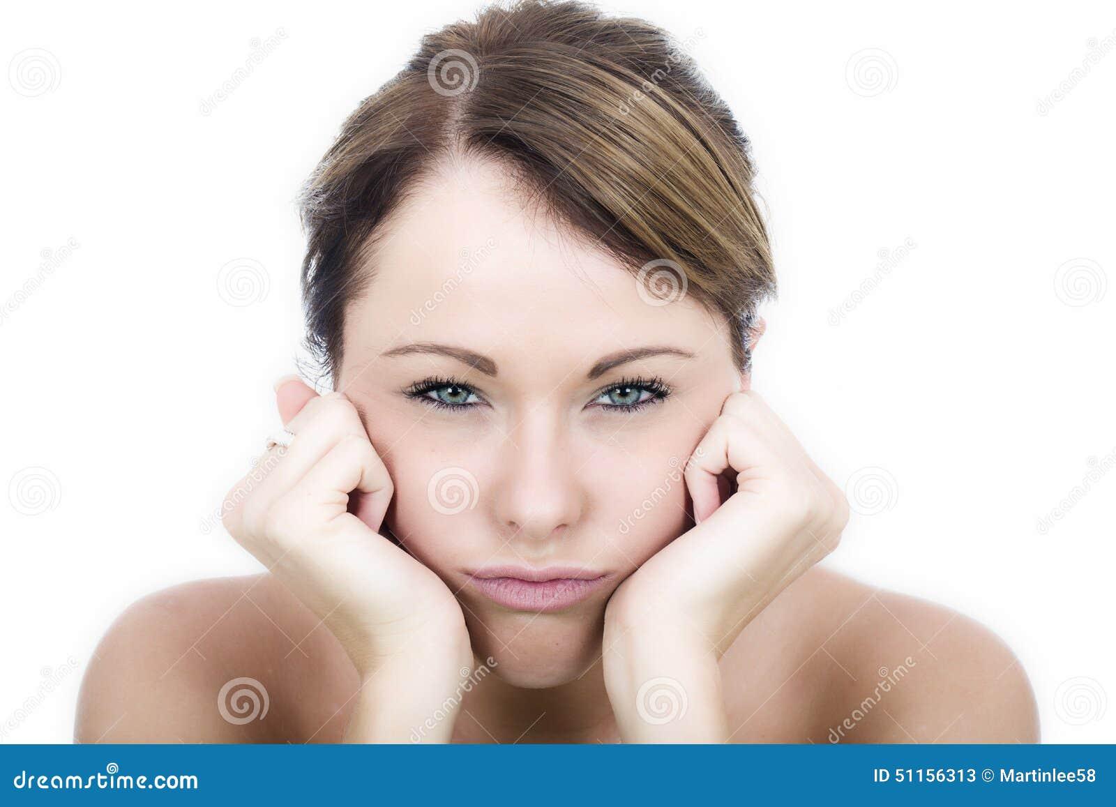 Junge Frau Fed Up Bored Frustrated Grumpys