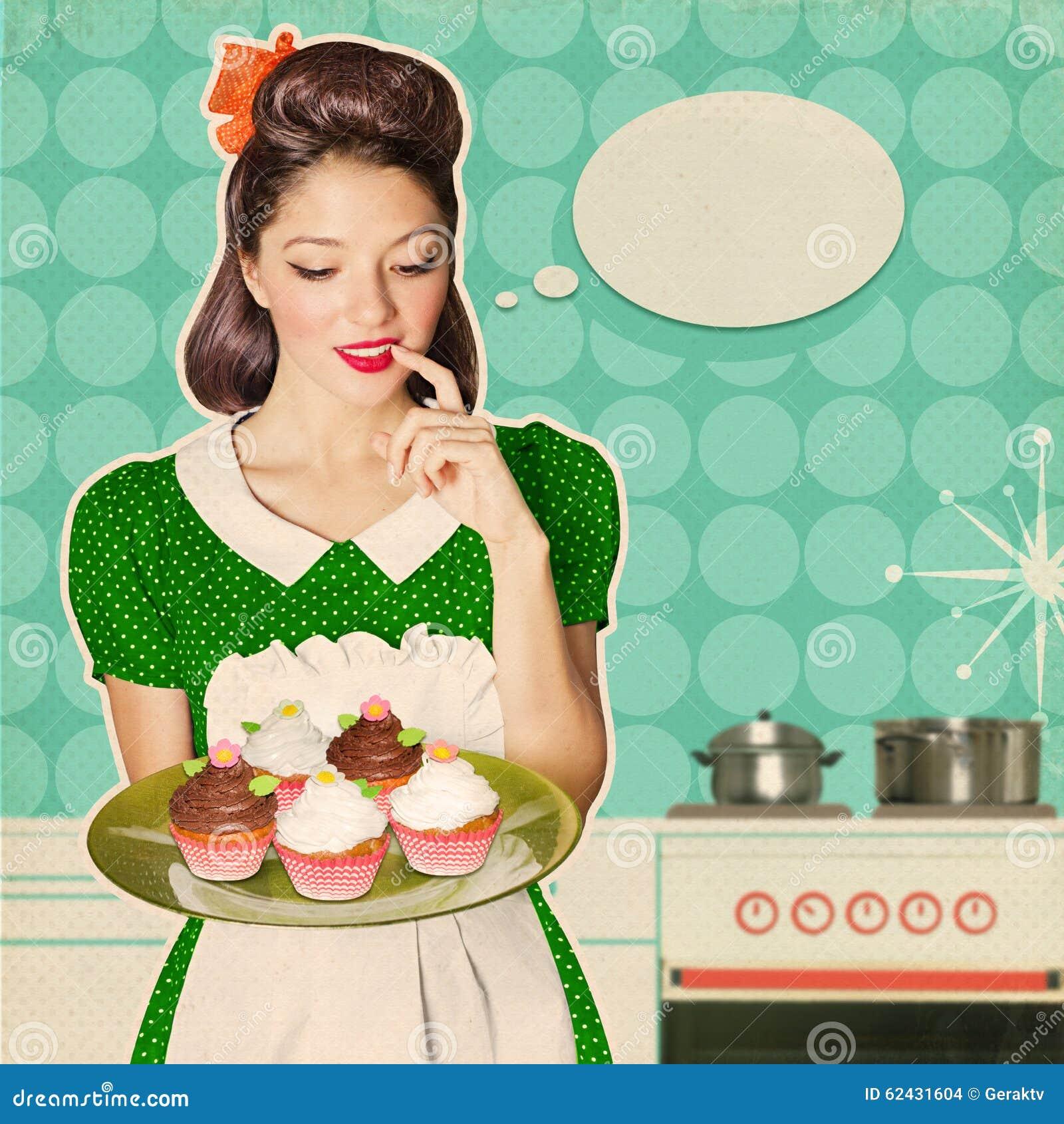 Junge Frau Halt Susse Kleine Kuchen Retro Plakathintergrund Stockfoto