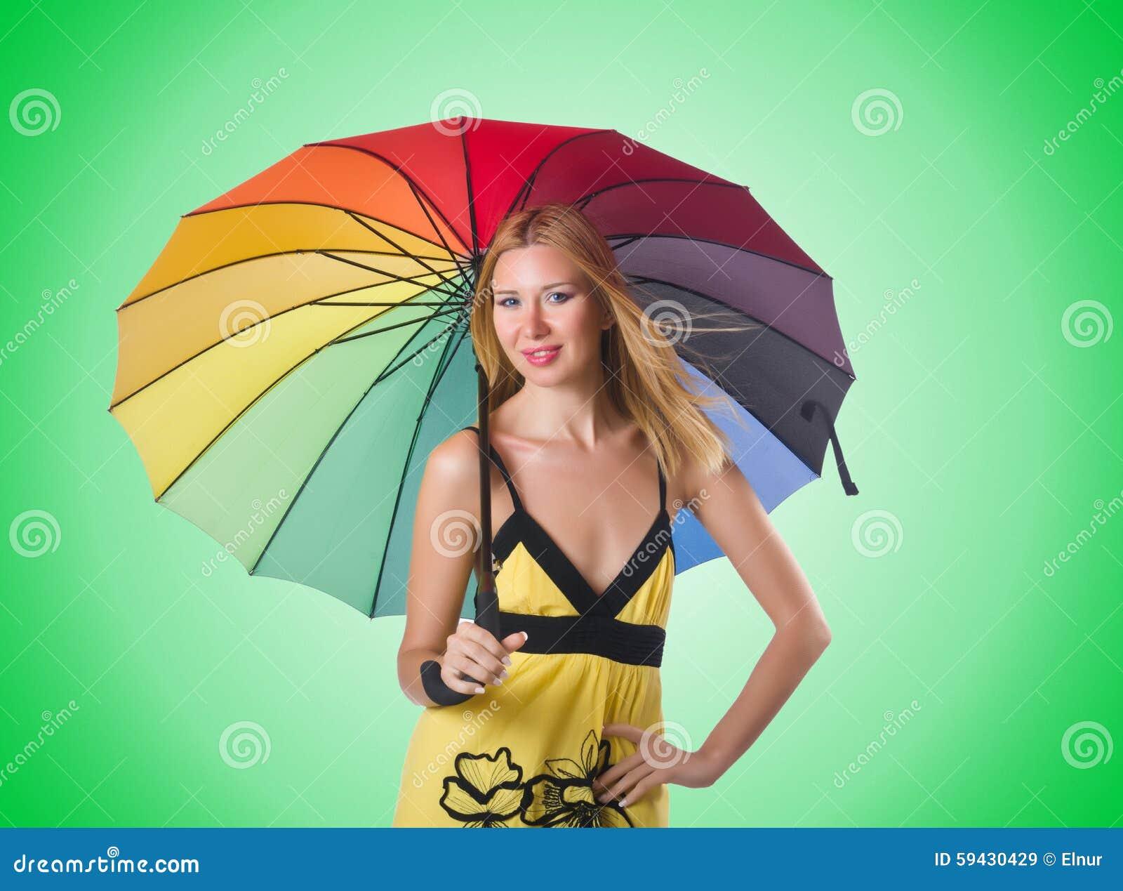 junge frau mit buntem regenschirm stockbild  bild von