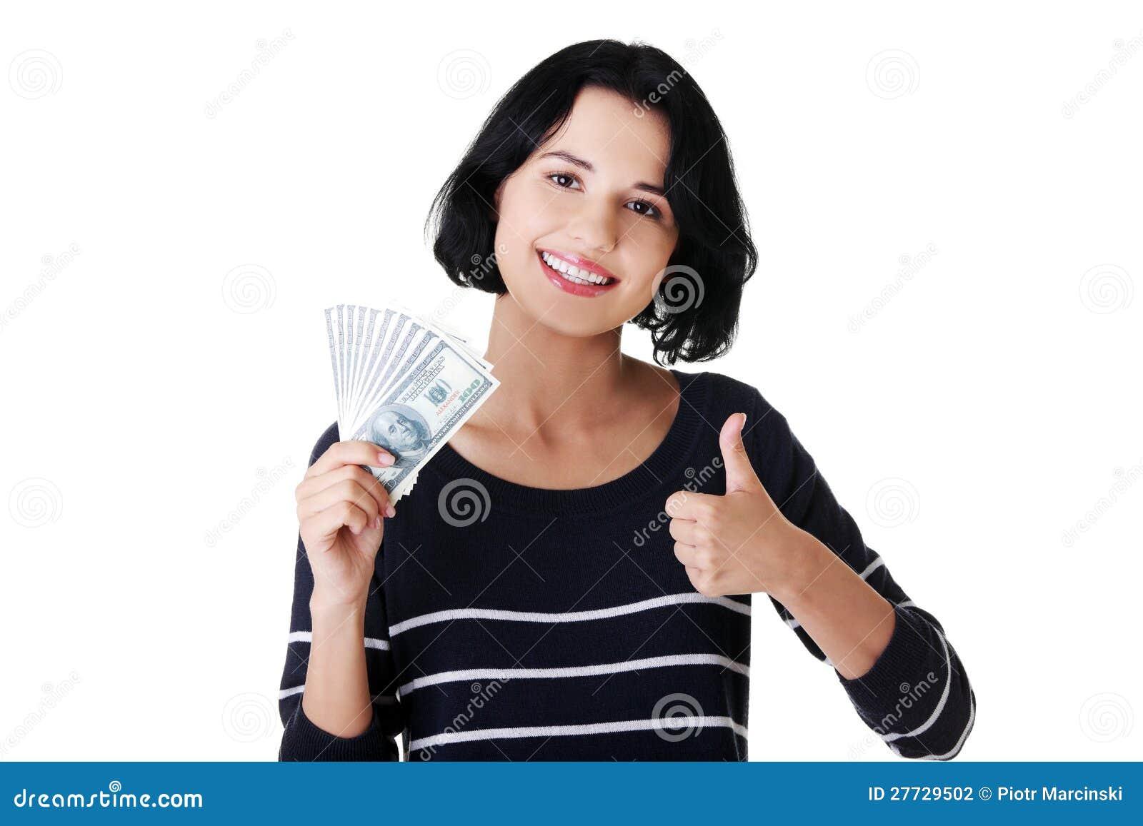 Junge Frau mit Dollar
