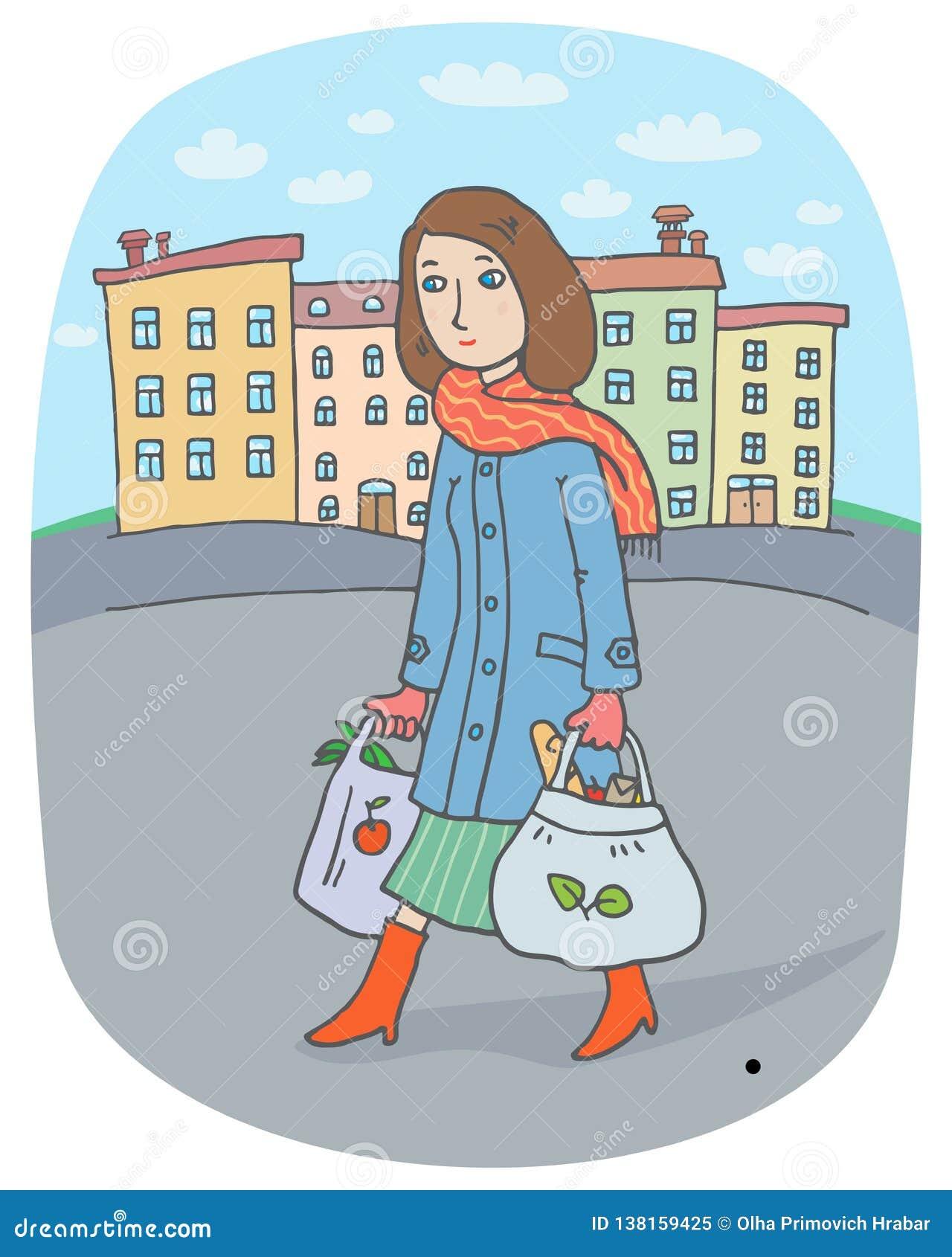 Junge Frau mit Einkaufstaschen geht vom Stadtmarkt automatisch anzusteuern
