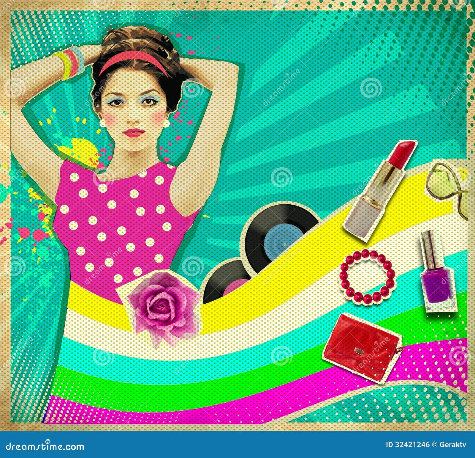 junge frau mit mode accessoires auf retro plakathintergrund lizenzfreies stockbild bild 32421246. Black Bedroom Furniture Sets. Home Design Ideas