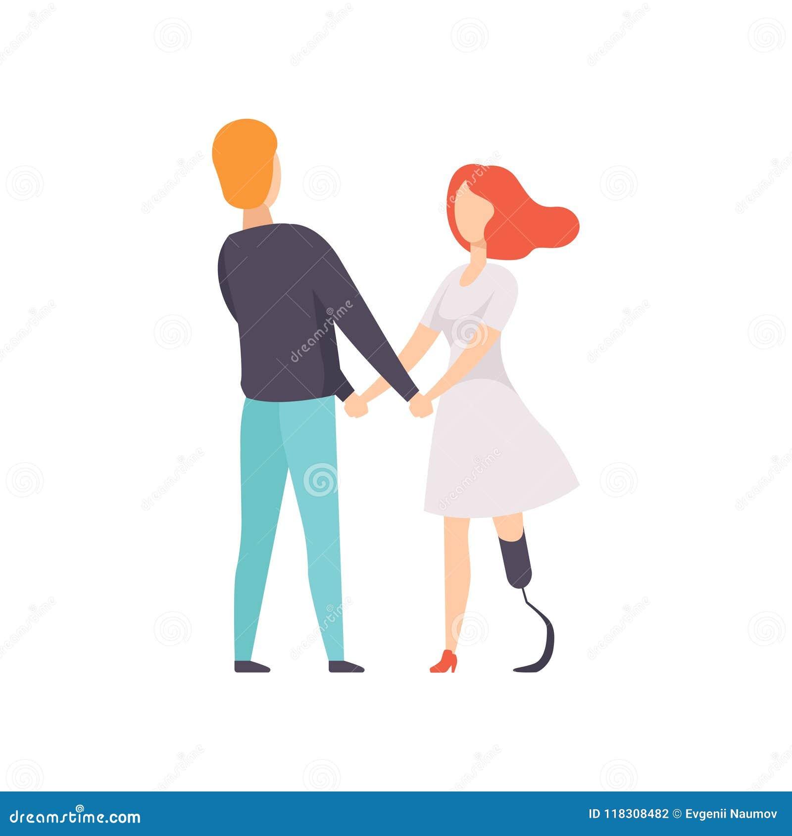 Junge Frau mit prothetischer Beinstellung und Händchenhalten mit ihrem Freund, Behinderter, der Vektor des vollen Lebens genießt