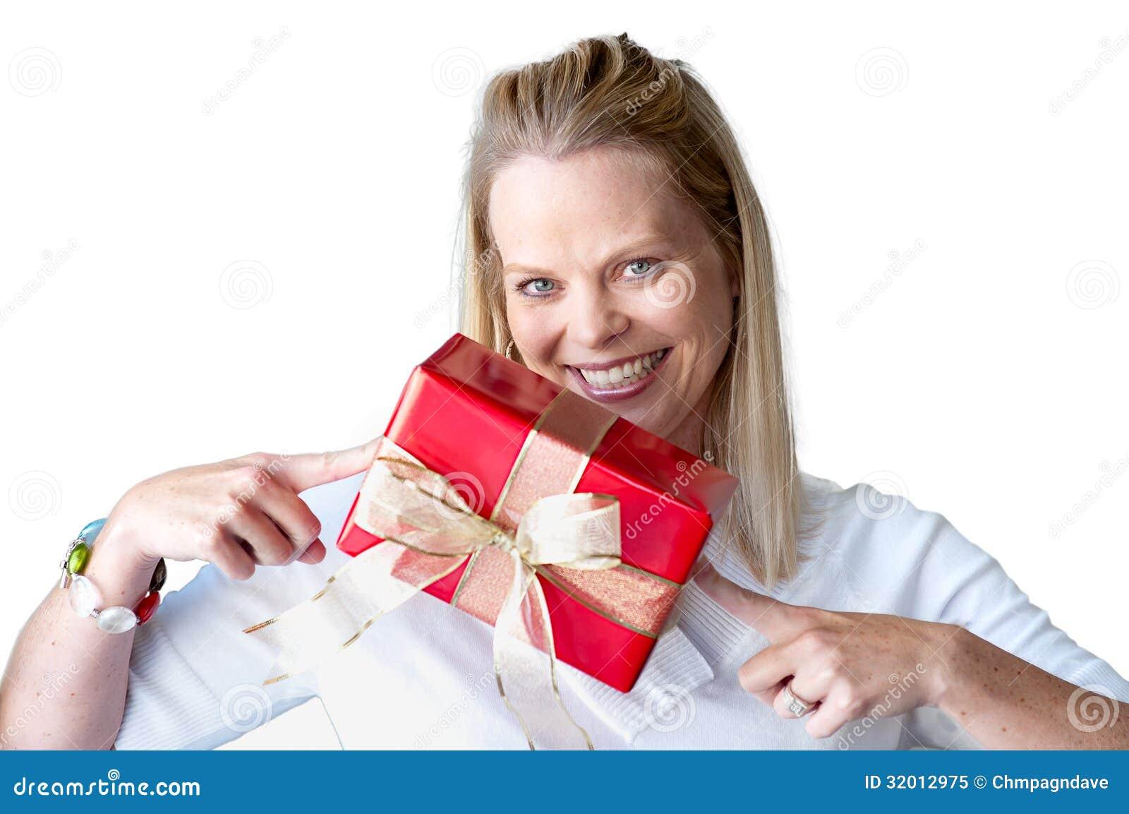 Junge Frau Mit Weihnachtsgeschenk Stockbild - Bild von beifall ...