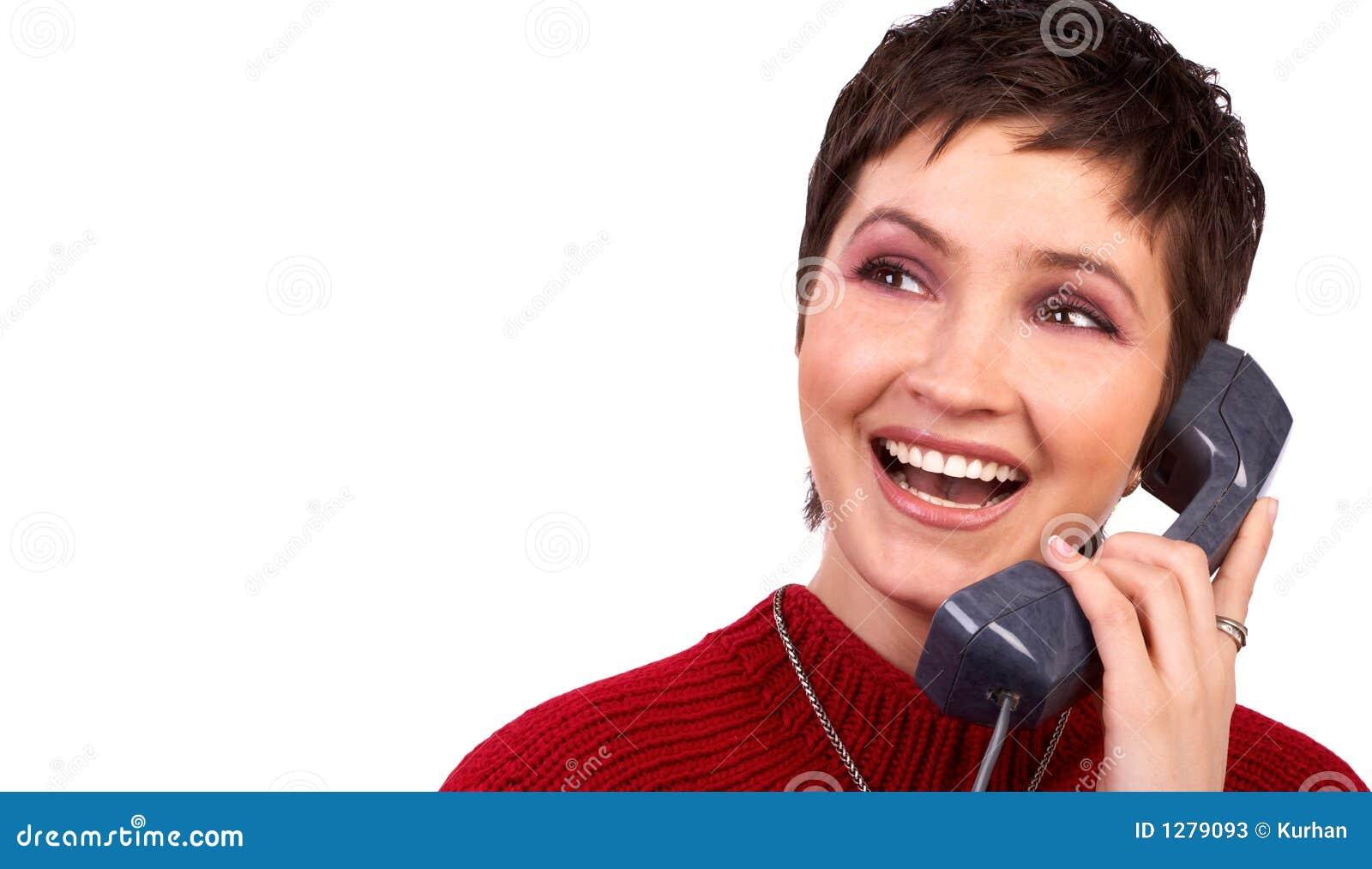 Junge Frau und Telefon