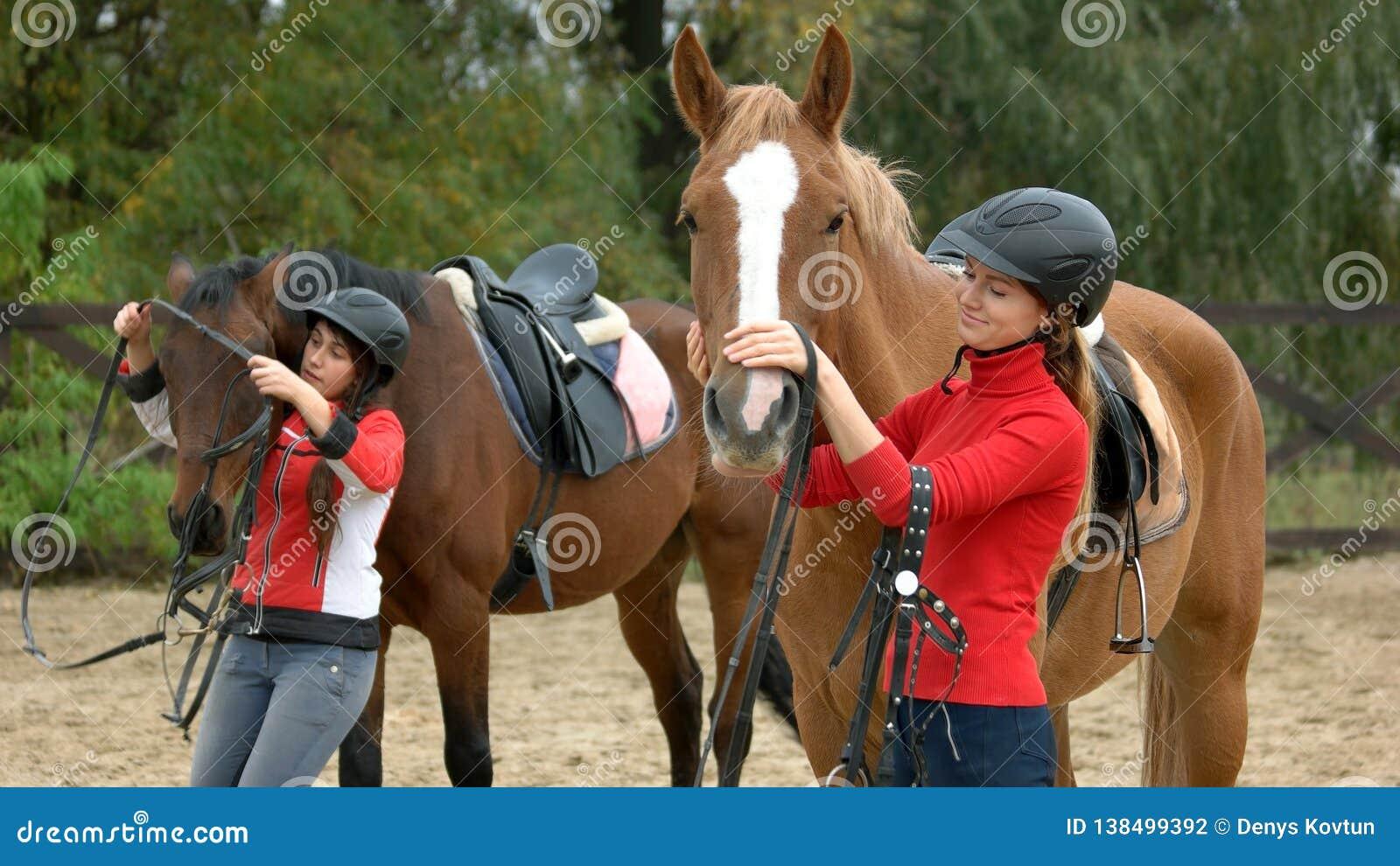 Junge Frauen, die Pferde für das Reiten vorbereiten