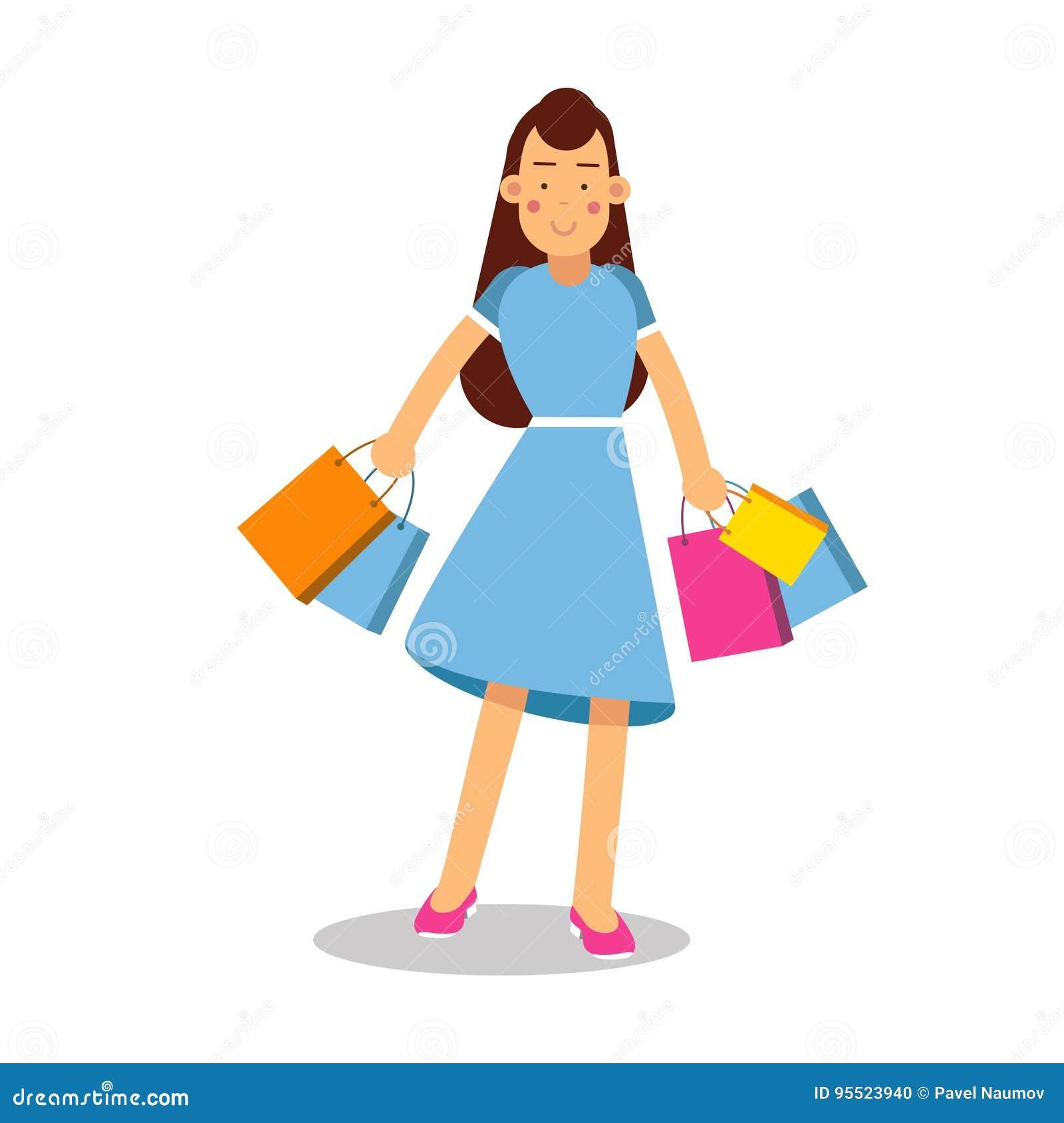 Junge glückliche lächelnde Frau im blauen Kleid und die langen Haare, die mit Kaufzeichentrickfilm-figur stehen, vector Illustrat