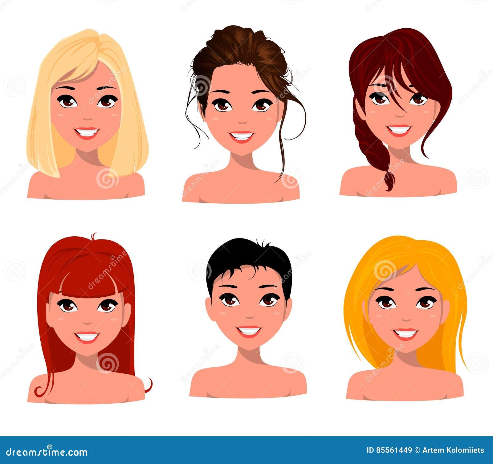 Junge Hübsche Frauen Hübsche Gesichter Mit Verschiedenen