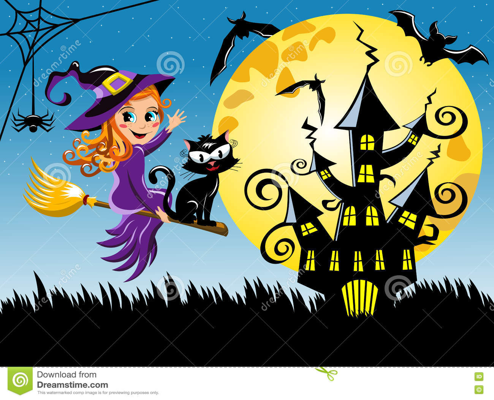 Junge Hexenfliegenbesenhalloween-Nachthorizontaler Hintergrund