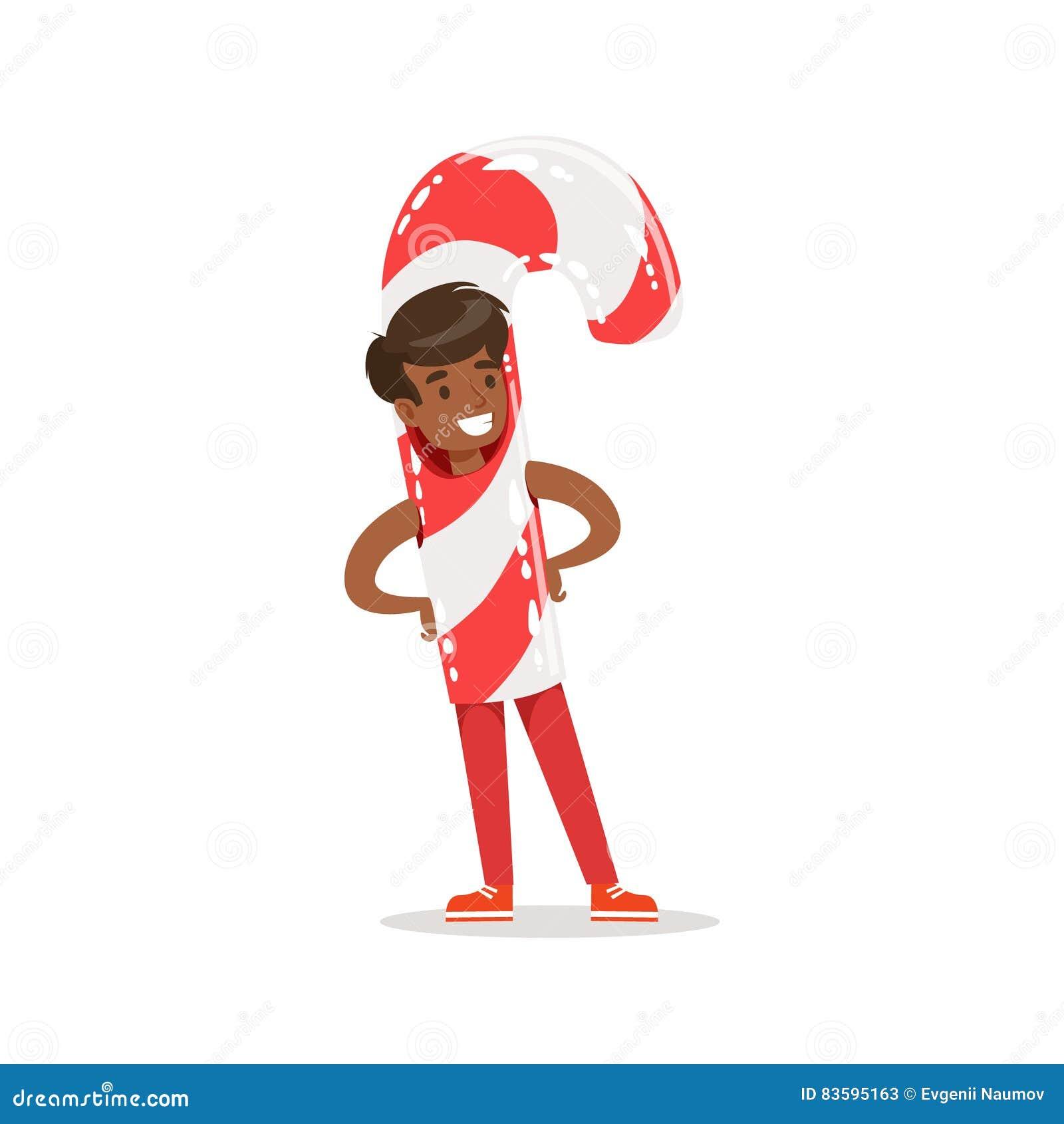 Junge Im Süßigkeits-Cane Stick Outfit Dressed As-Winterurlaub-Symbol ...