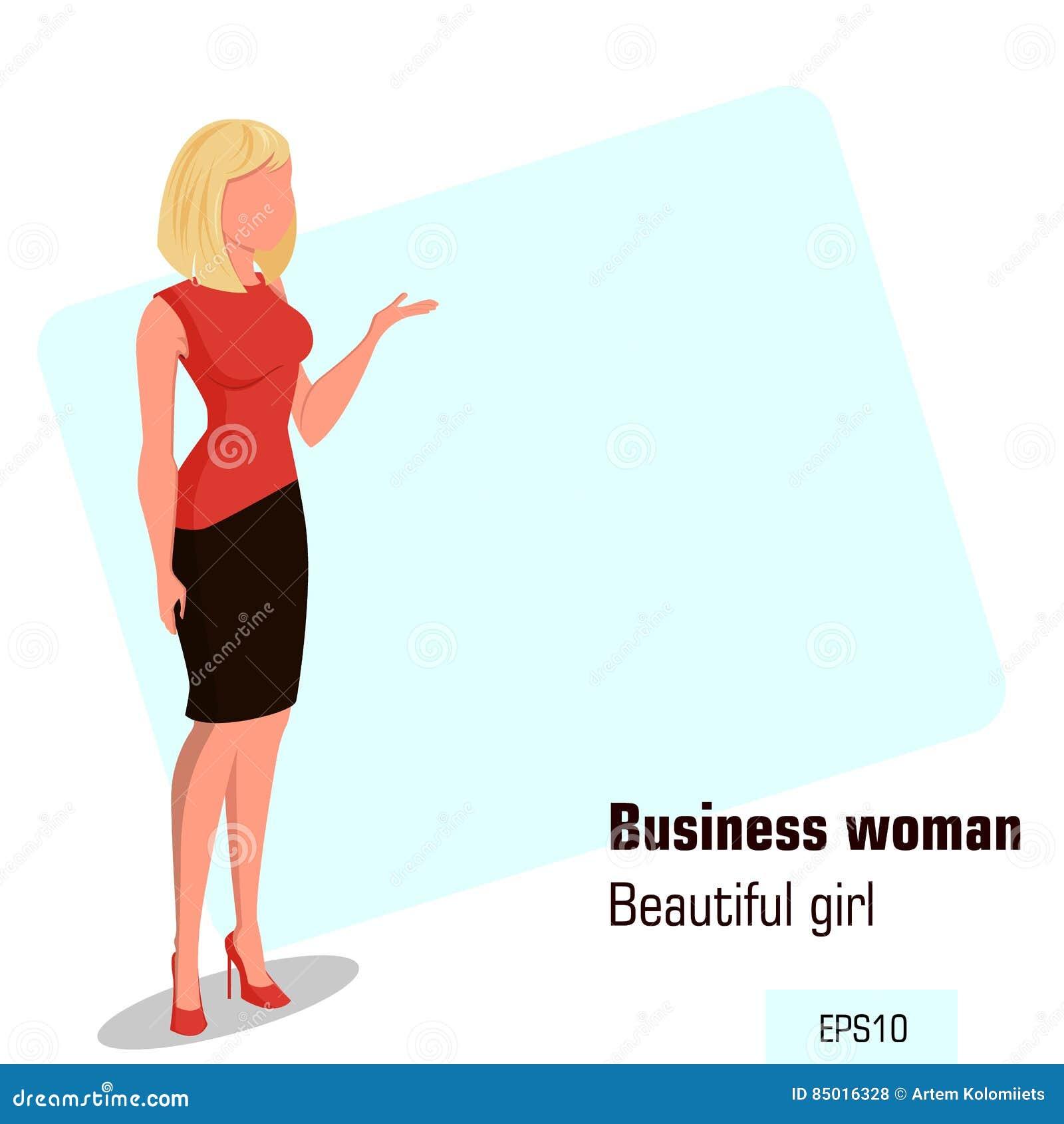 Junge Karikaturgeschäftsfrau im Büro kleidet das Zeigen etwas Schönes blondes Mädchen Isometrische Geschäftsfrau