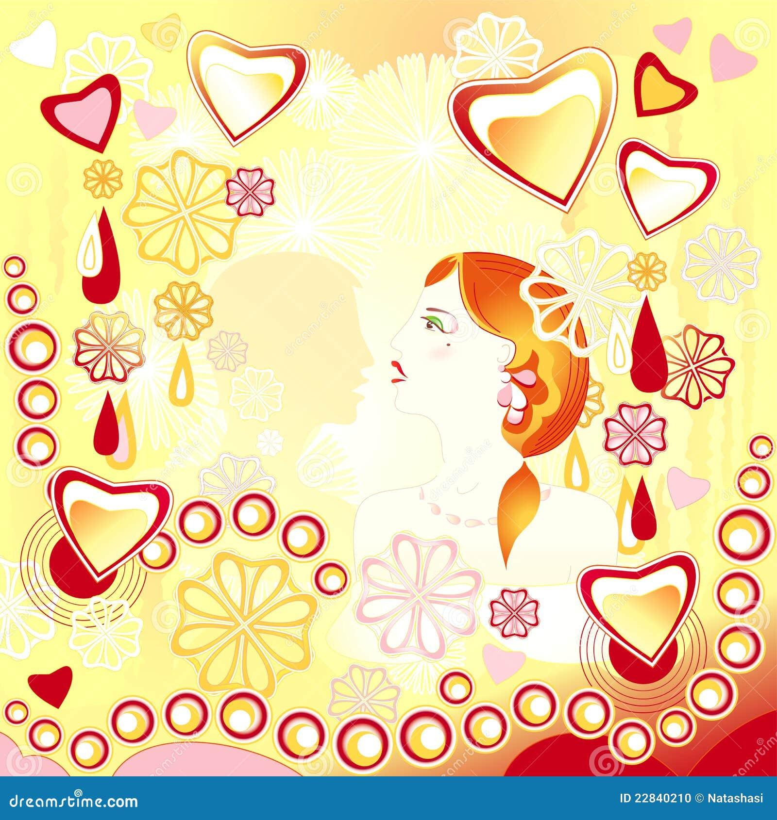 Junge liebevolle Paare auf einem abstrakten Hintergrund