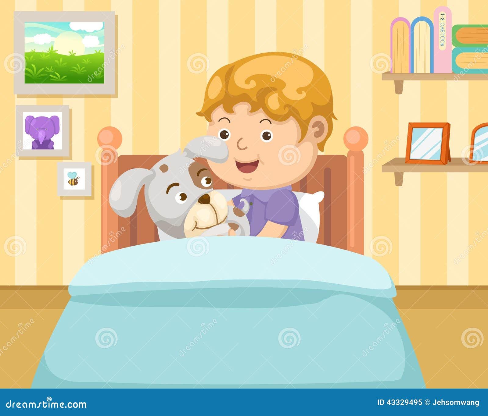 Junge mit hund im schlafzimmer vektor abbildung for Schlafzimmer junge