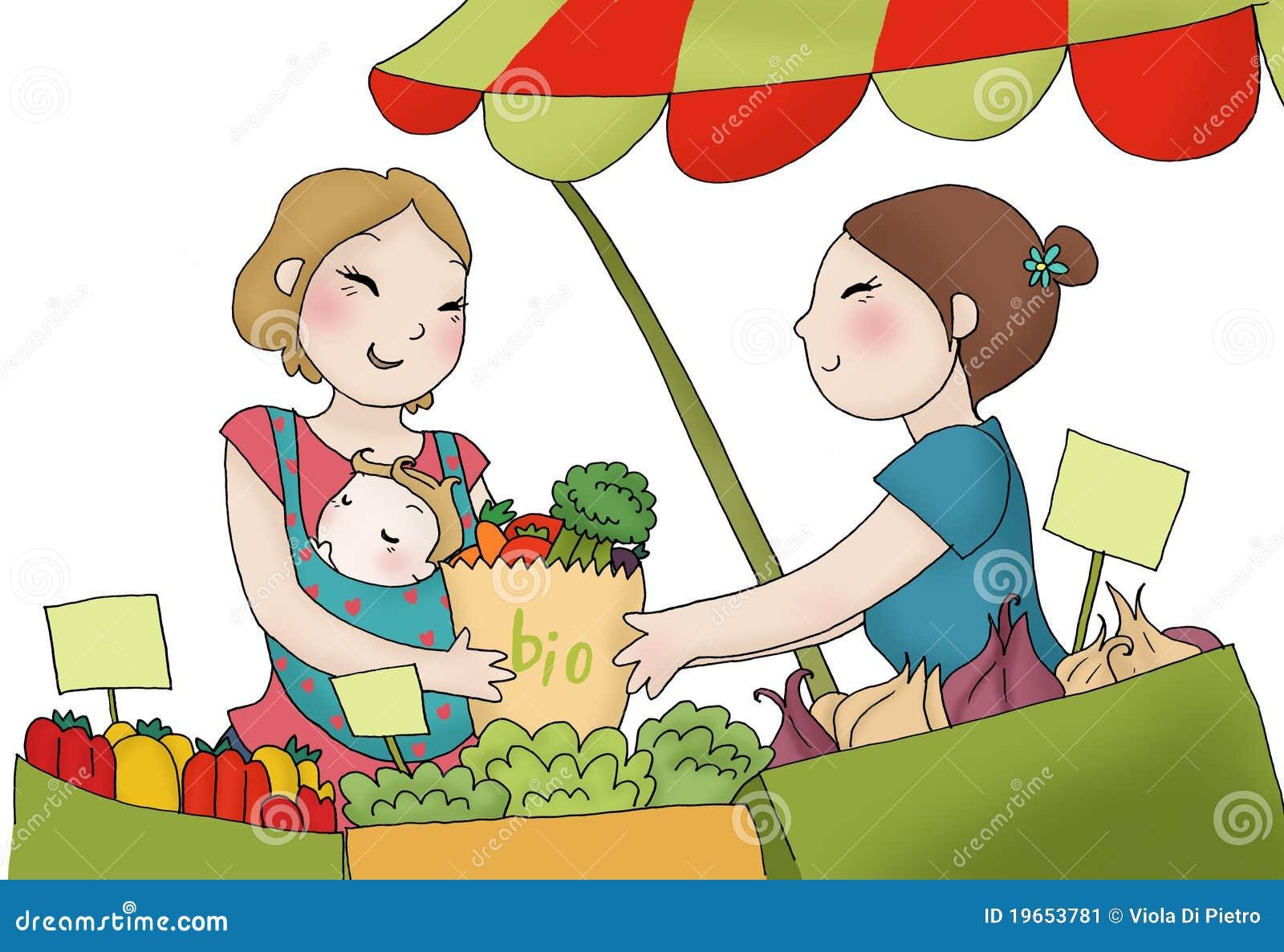 Junge Mutter am Markt