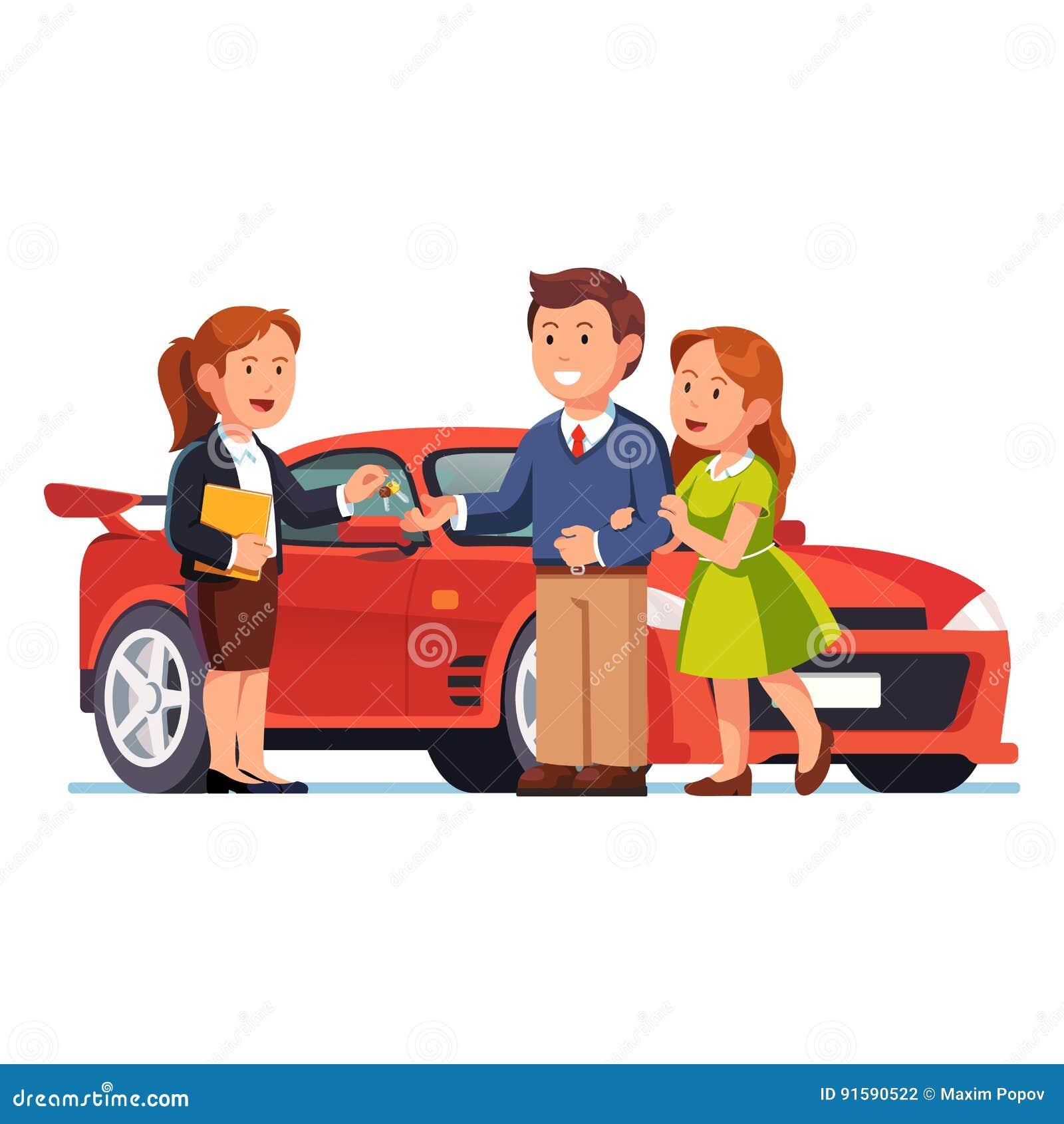 junge paare die neues rotes auto kaufen oder mieten. Black Bedroom Furniture Sets. Home Design Ideas
