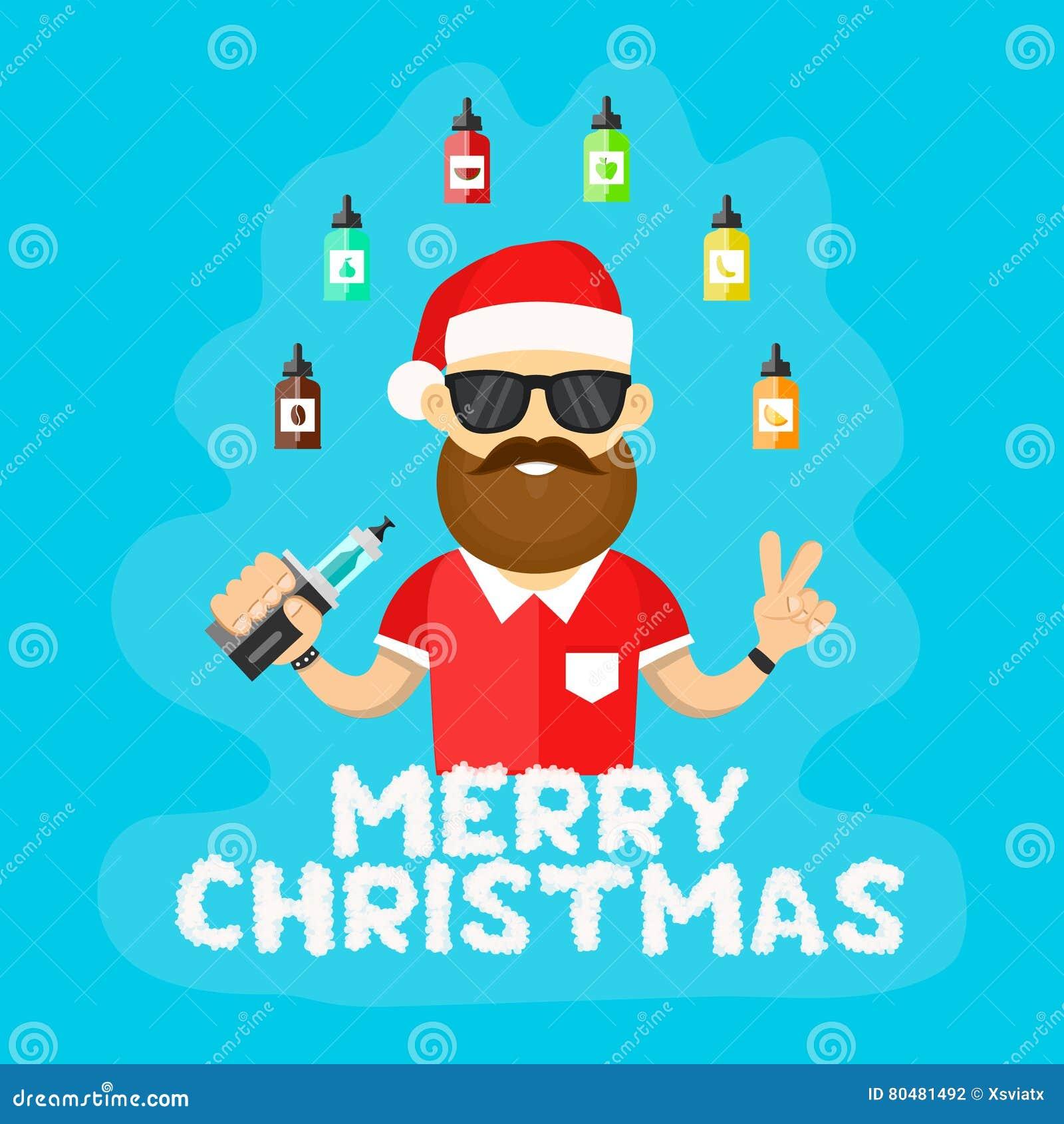 Frohe Weihnachten Männer Bilder.Junge Sankt Hippie Männer Mit Vape Flache Vektorillustration Vaping