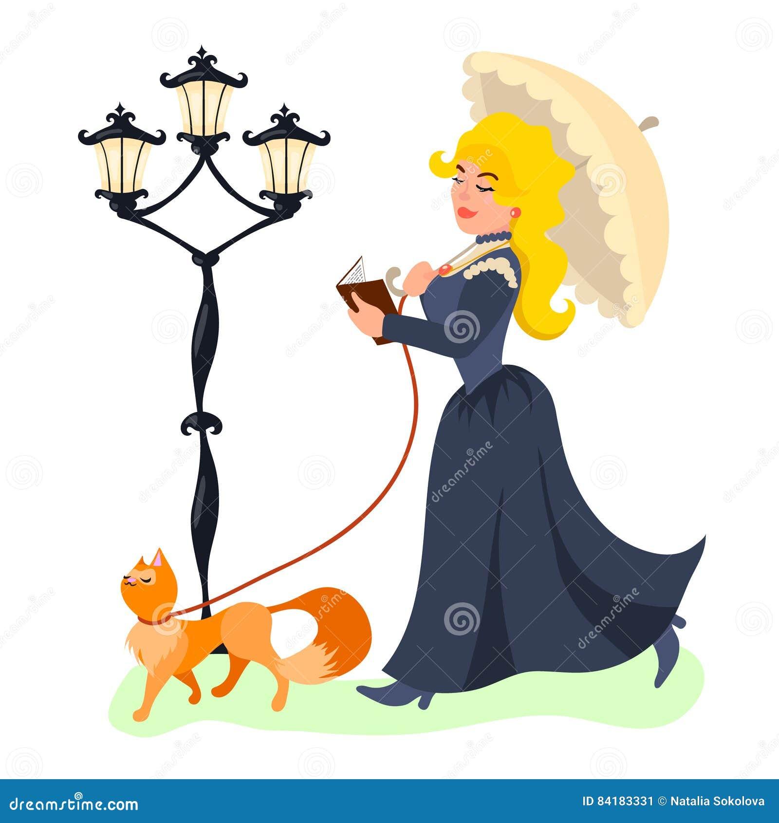 Junge schöne Dame, die mit ihrer Katze und Lesebuch geht
