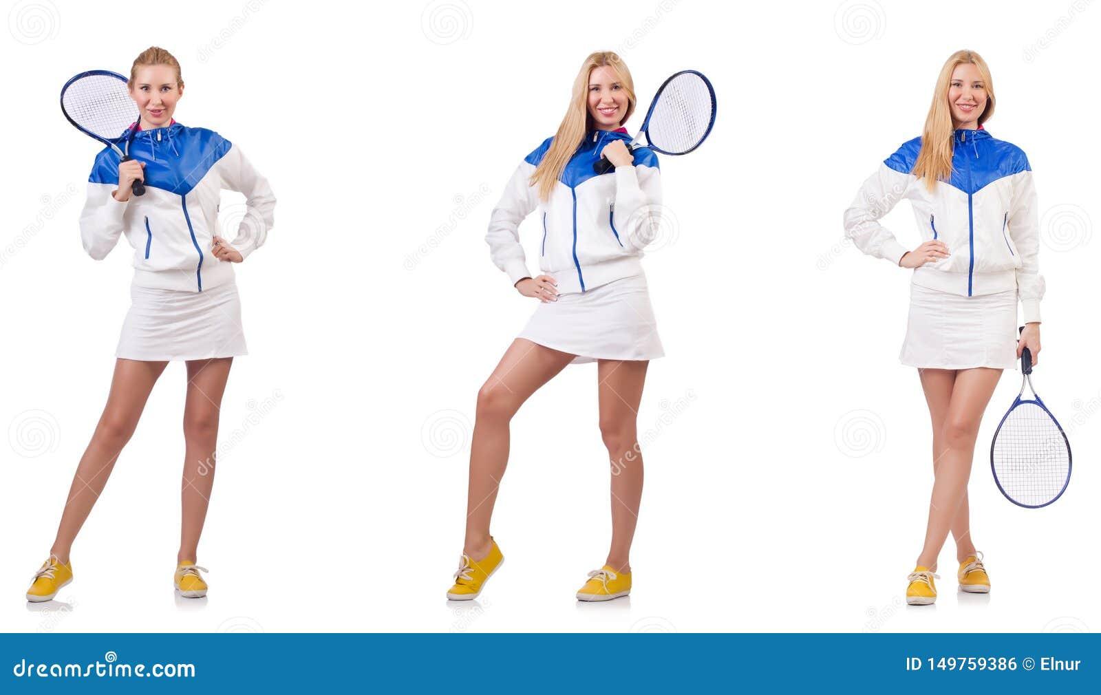 Junge sch?ne Dame, die das Tennis lokalisiert auf Wei? spielt