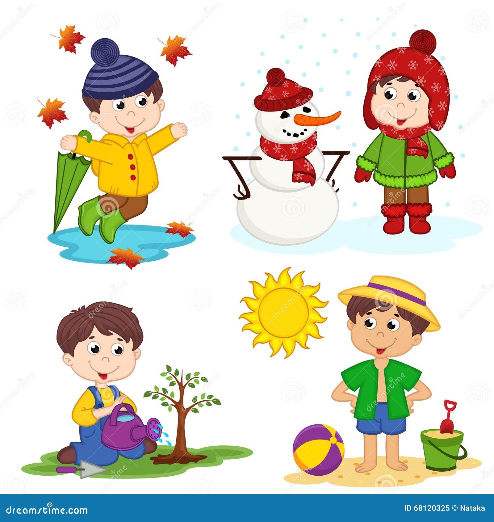Kindergarten 4 Seasons Clipart