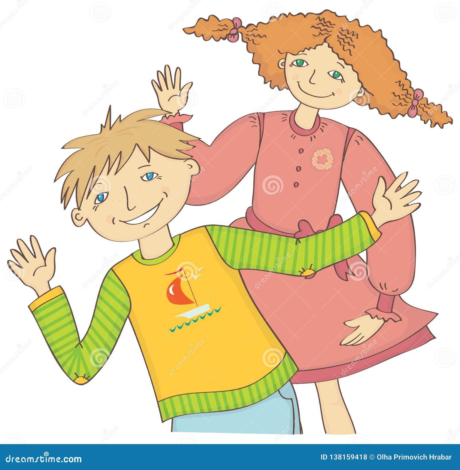 Junge und Mädchen grüßen wellenartig bewegende Hand