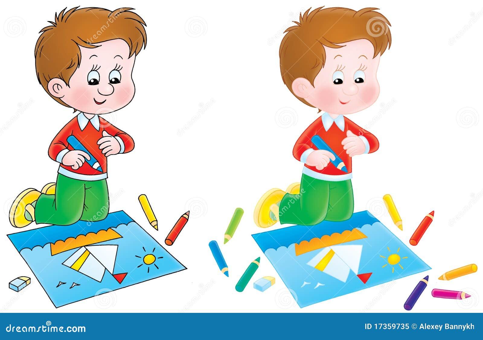 Getrennte Clipart Abbildung Eines Jungen Der Mit Bleistiften Eine