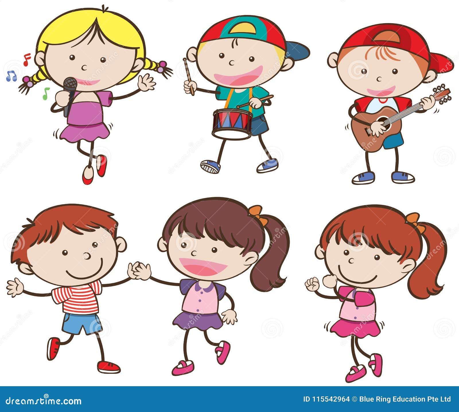Jungen und Mädchen Musiker und Tanz