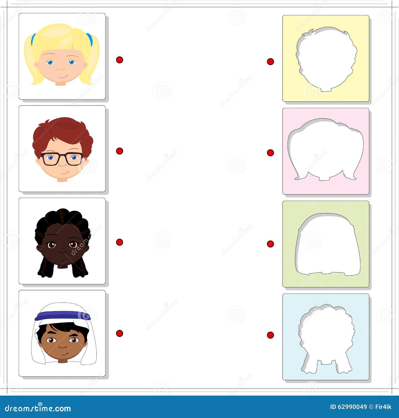Jungen und Mädchen von verschiedenen Nationalitäten Lernspiel für