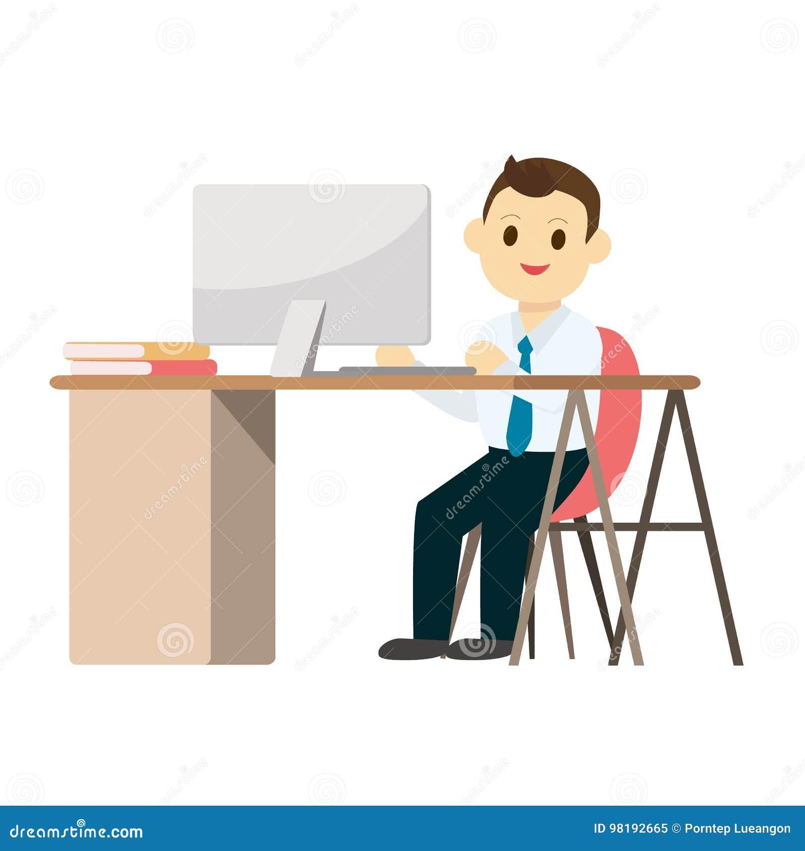 Junger Geschaftsmann Der An Schreibtisch Mit Computer Arbeitet Vektor Abbildung Illustration Von Computer Geschaftsmann 98192665