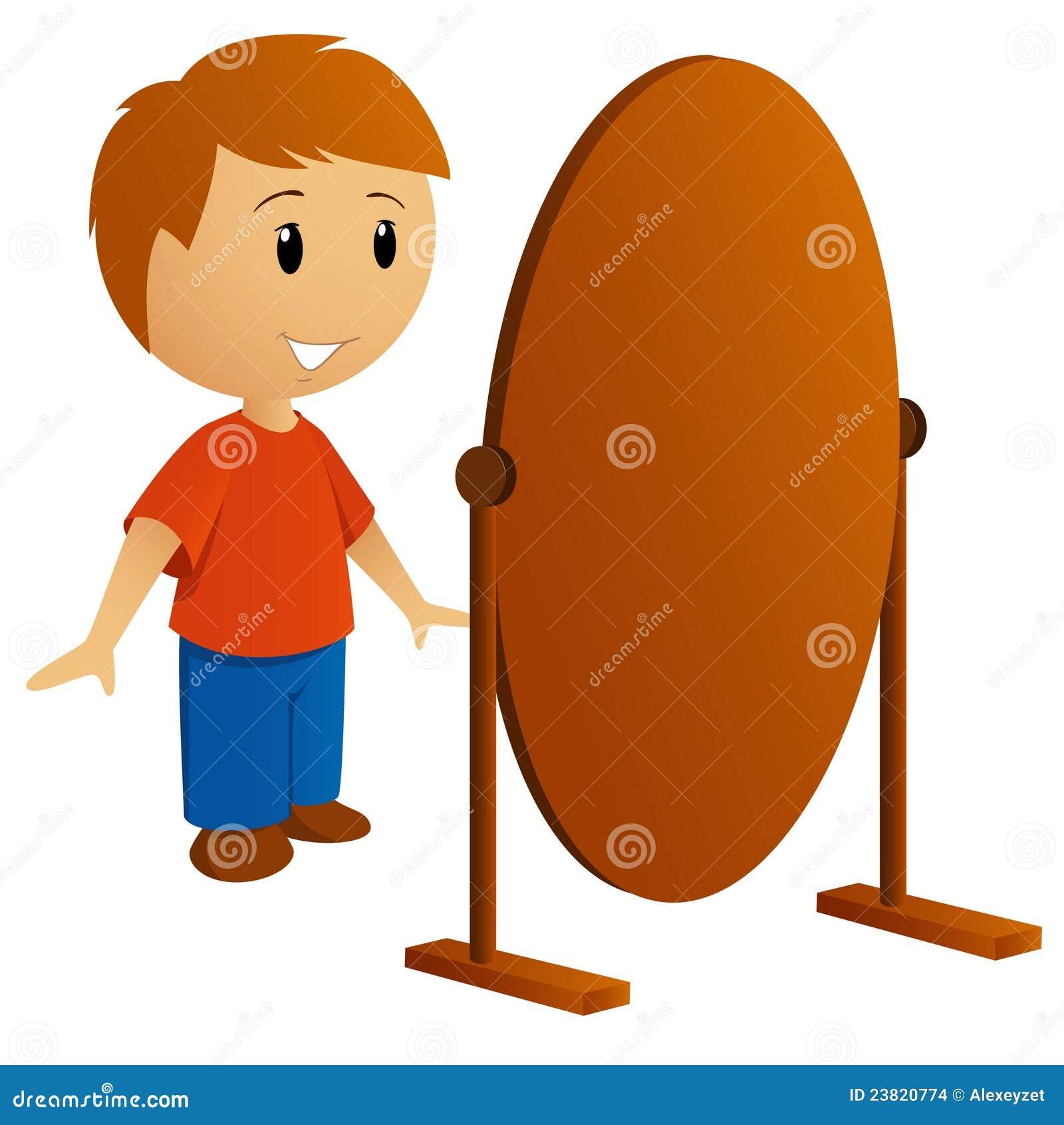 Junger mann der im spiegel schaut vektor abbildung bild for Spiegel kinderzimmer junge