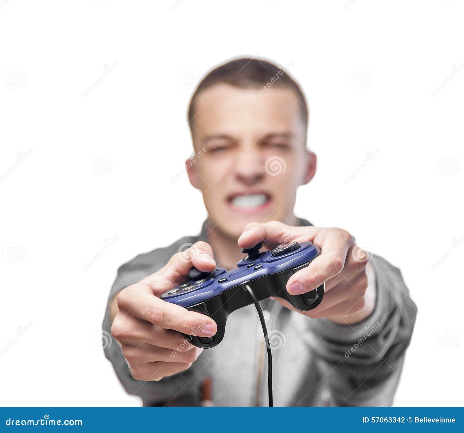 Junger Mann mit einem Steuerknüppel