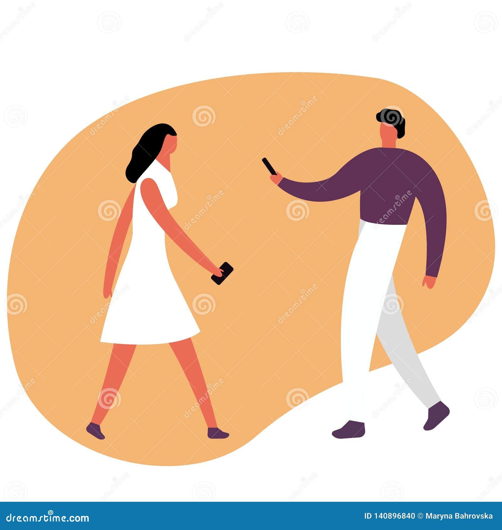 Junger Mann und Frau Kaukasischer tausendjähriger Junge und attraktives rothaariges Mädchen mit dem Telefon, wirkend auf Social M