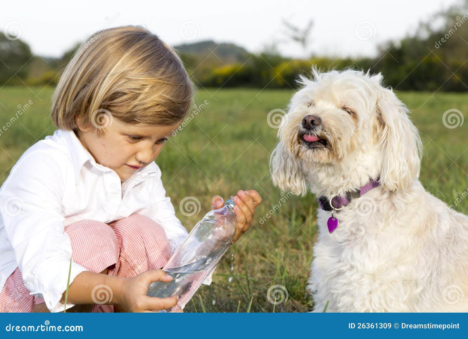 Junger netter Junge, der dem Hund Wasser gibt