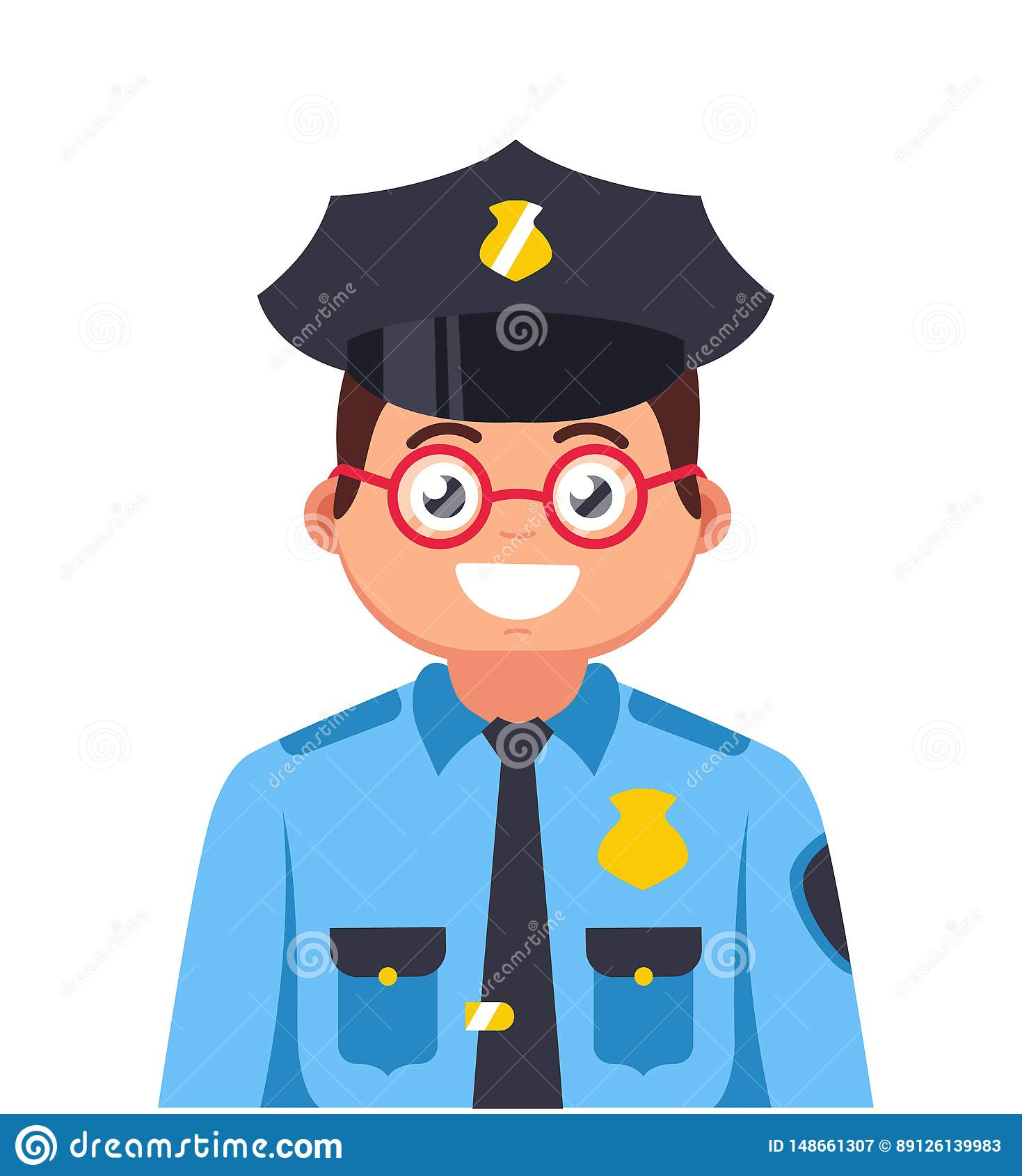 Junger Polizist mit Gl?sern l?chelnd ?ber einem wei?en Hintergrund sehr junge Bulle