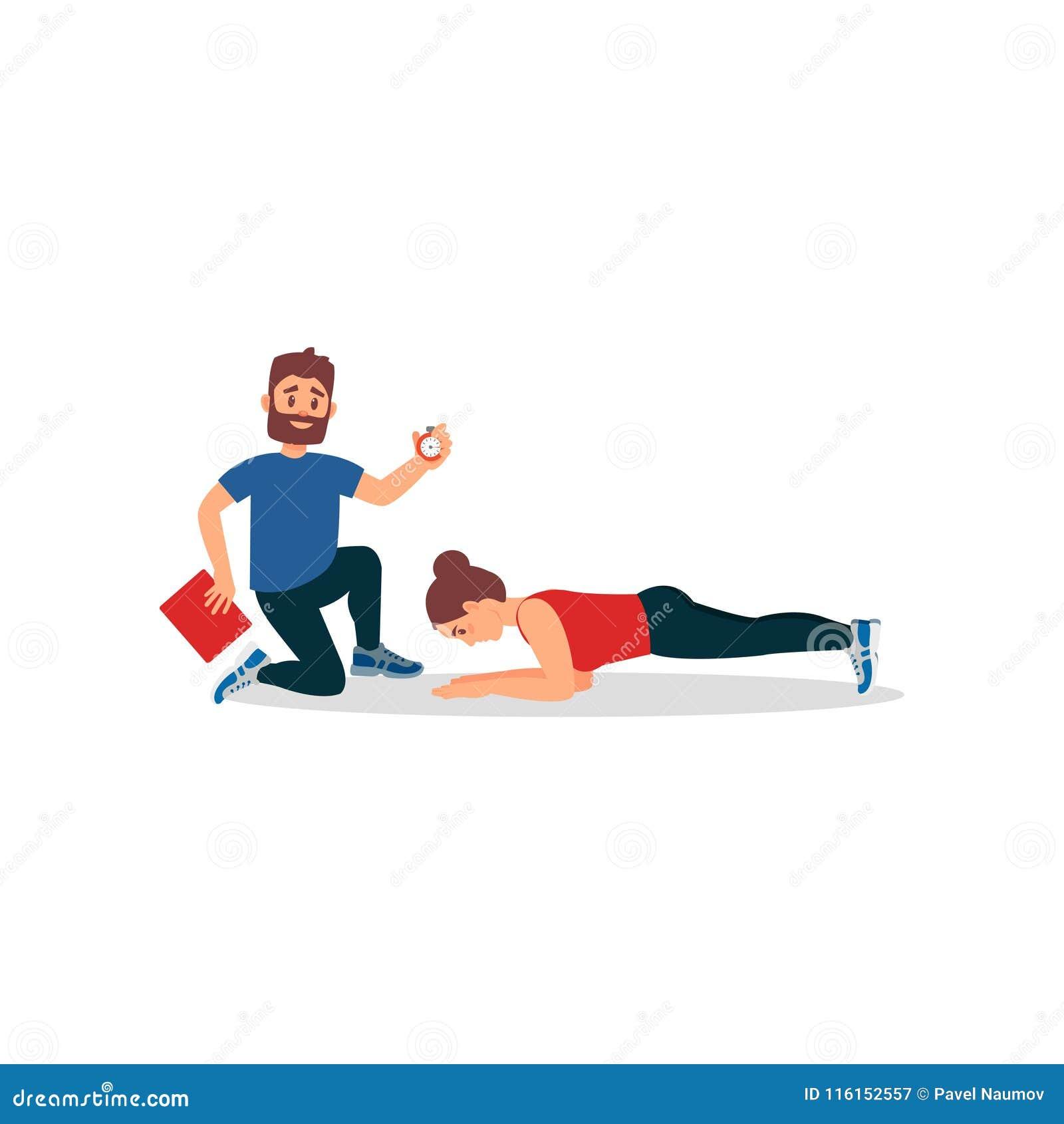 Junges Athletenmädchen, das Plankenübung unter Steuerung des persönlichen Trainers tut Trainer, der Stoppuhr und Ordner hält flac