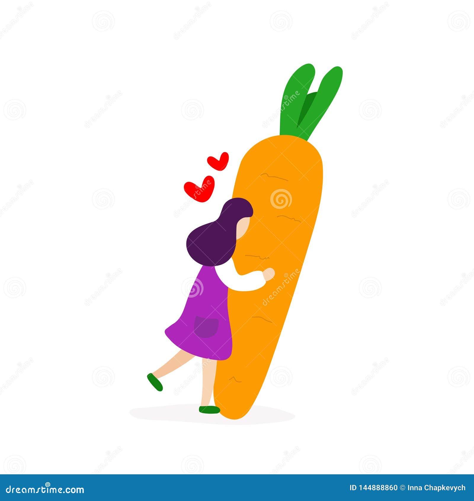 Junges M?dchen, das mit gro?er Karotte umarmt