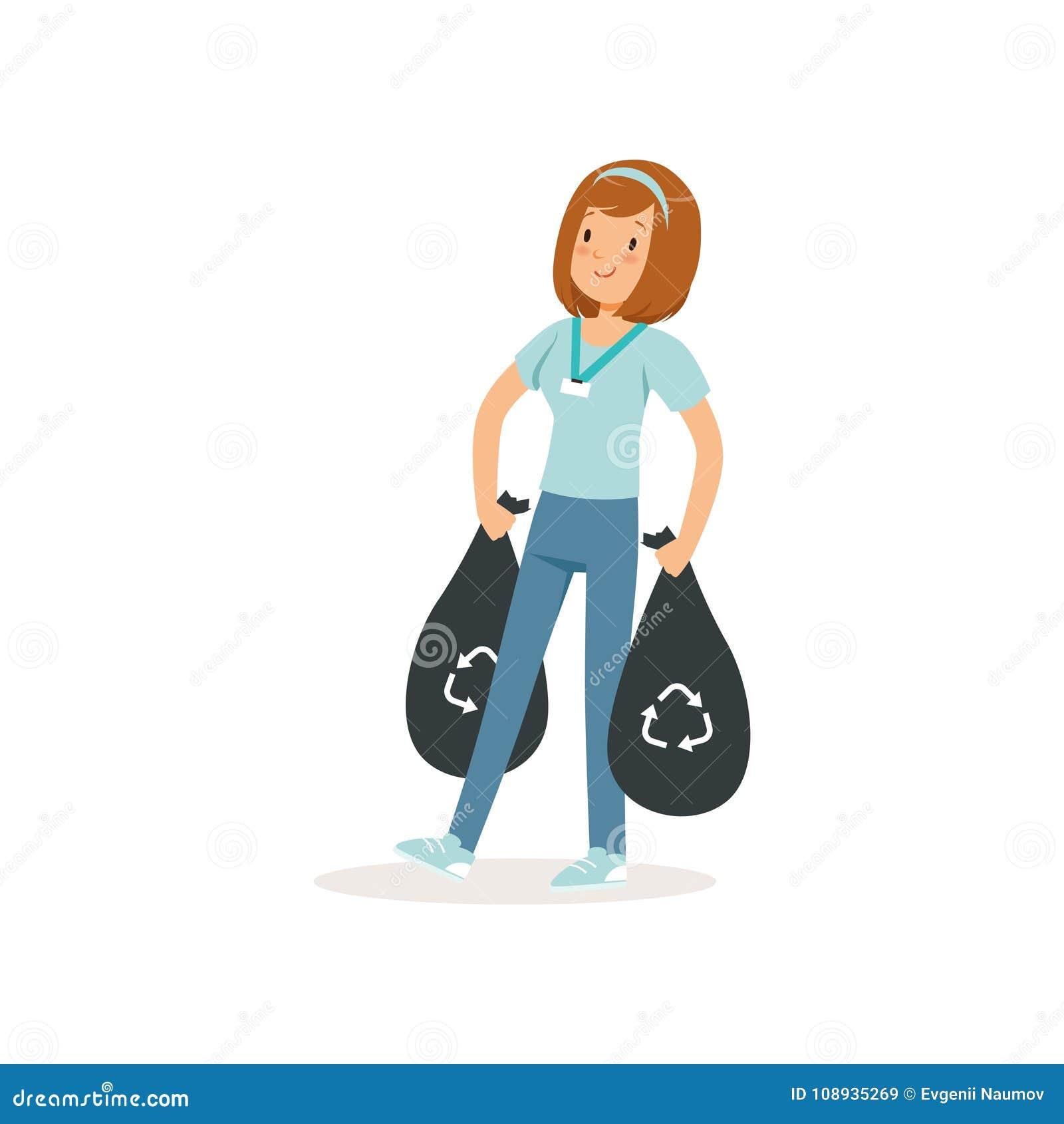 Junges Mädchen, das zwei schwarze Taschen mit Abfall trägt Sozialaktivist Abfallaufbereitung Zeichentrickfilm-Figur des Freiwilli