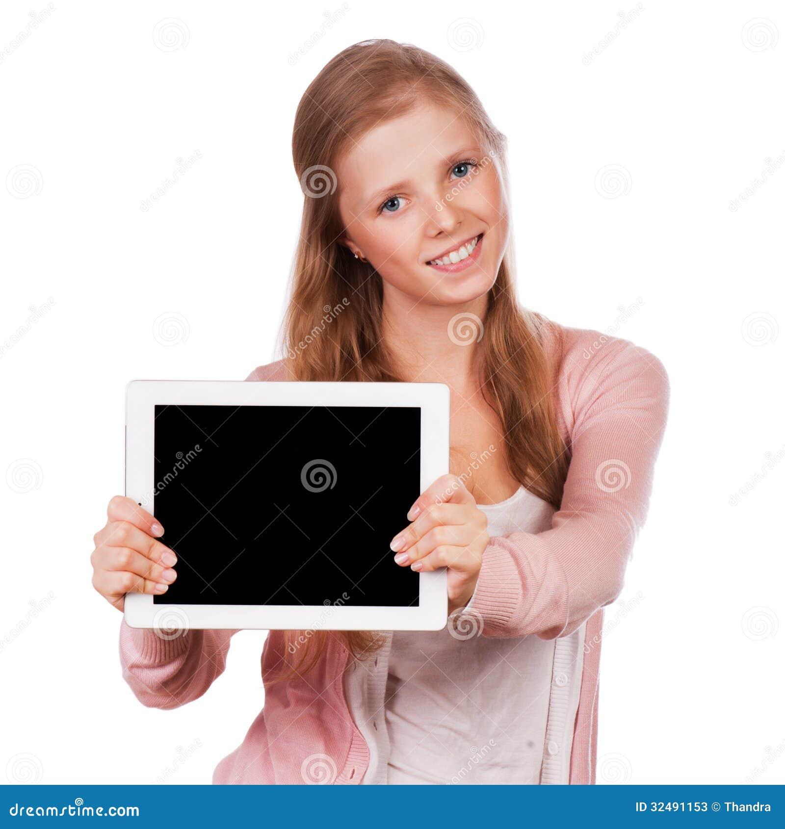 Junges Schönheitsstudentenmädchen mit Tablette