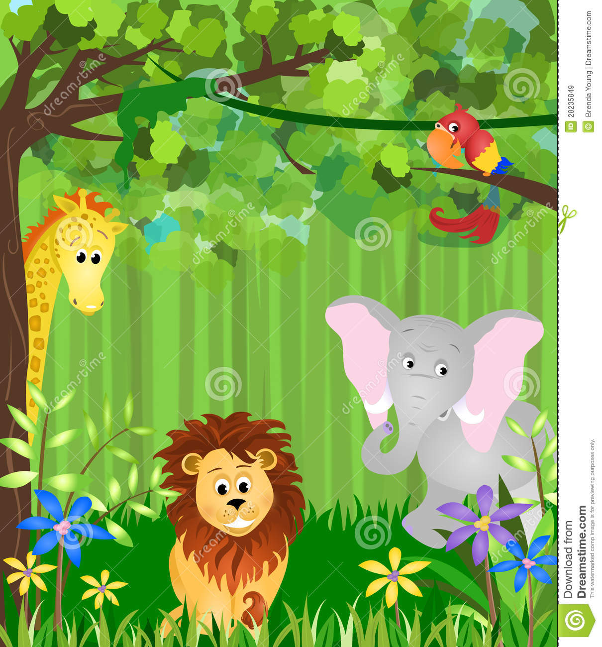 Illustration of a jungle with lion, elephant, bird, giraffe, and ...: https://www.dreamstime.com/royalty-free-stock-images-jungle-animals...