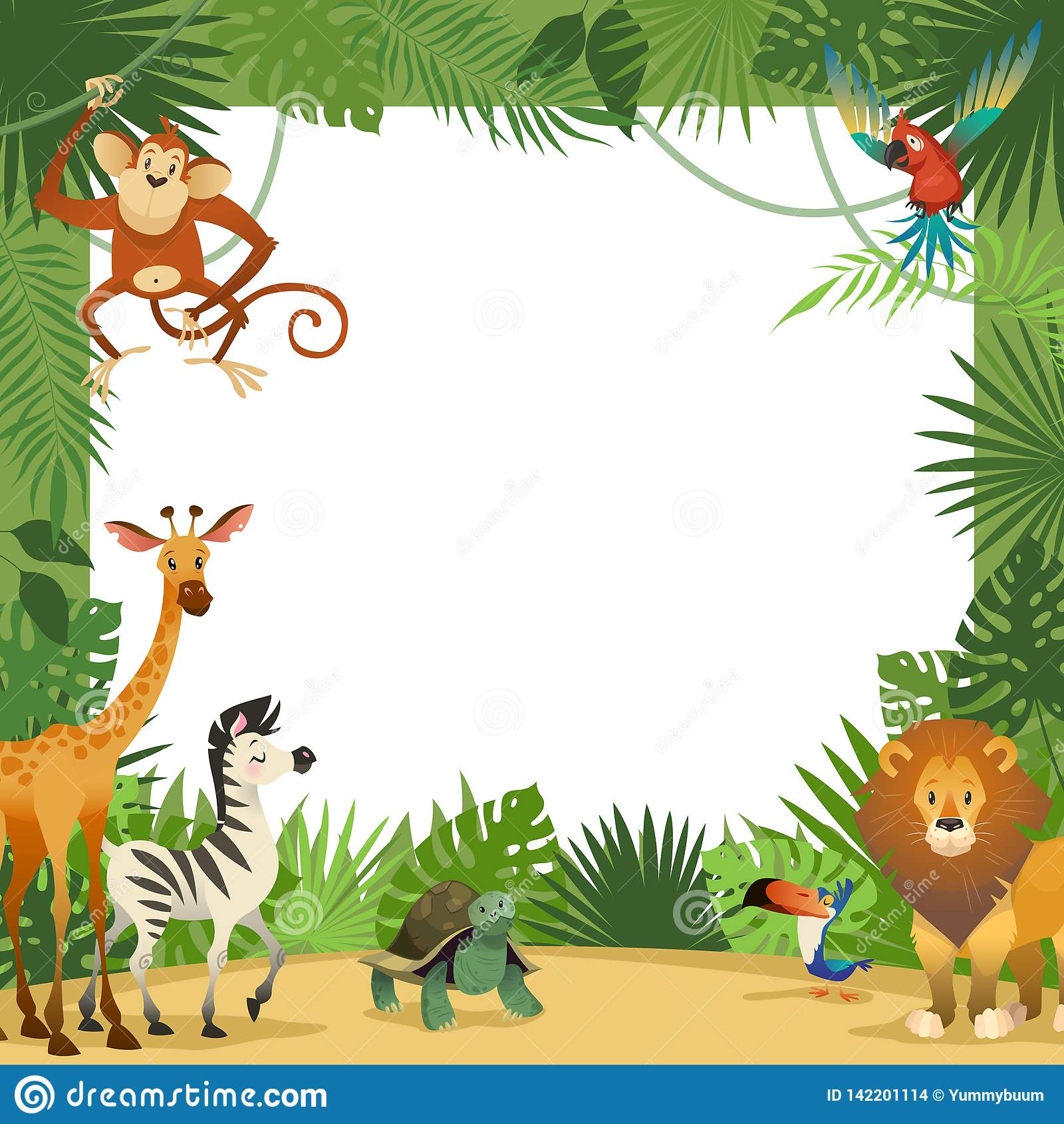 Zoo Animals Clip Art Border Zoo Border Stoc...