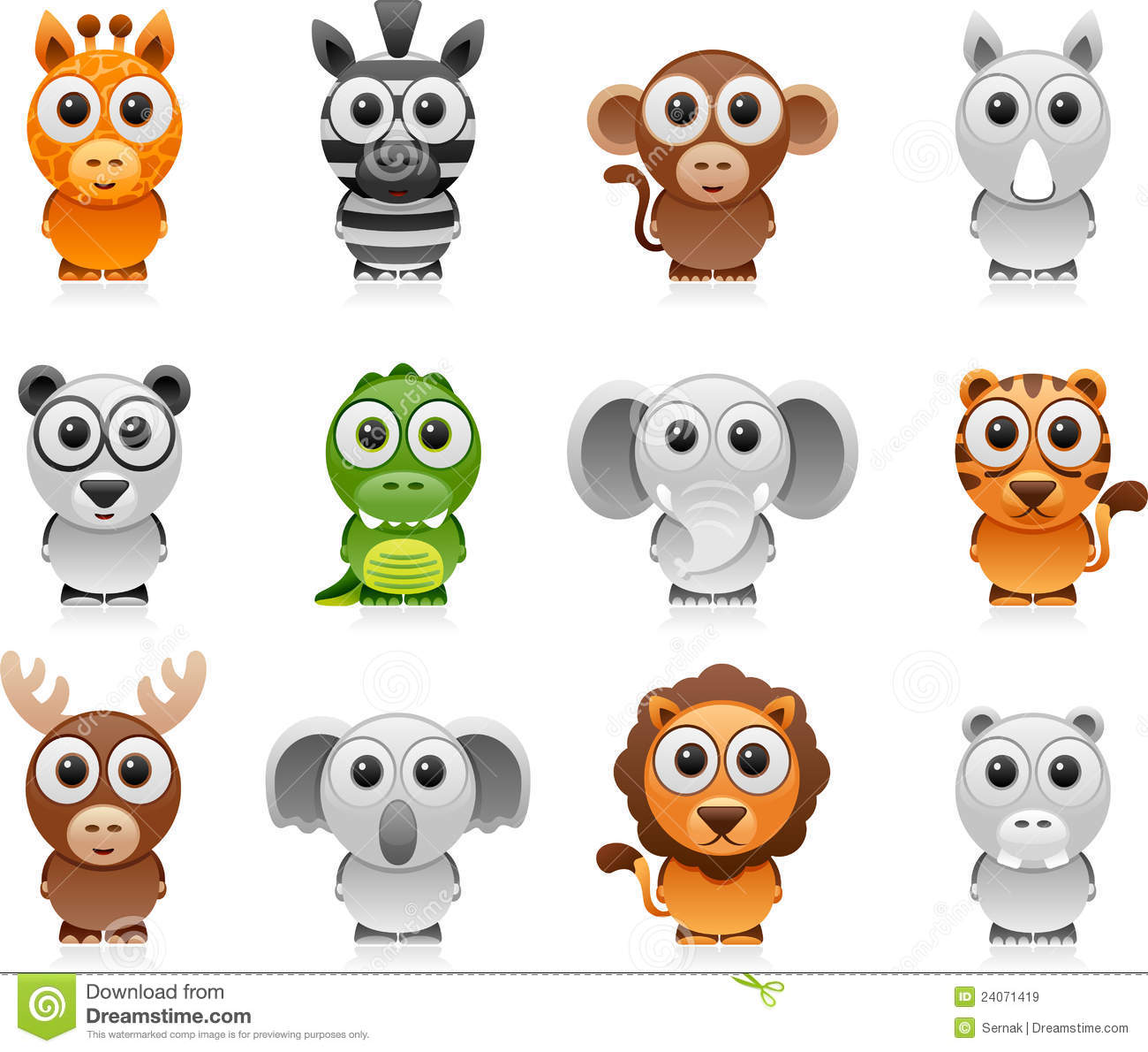 jungle animals cartoon set royalty free stock images image 24071419