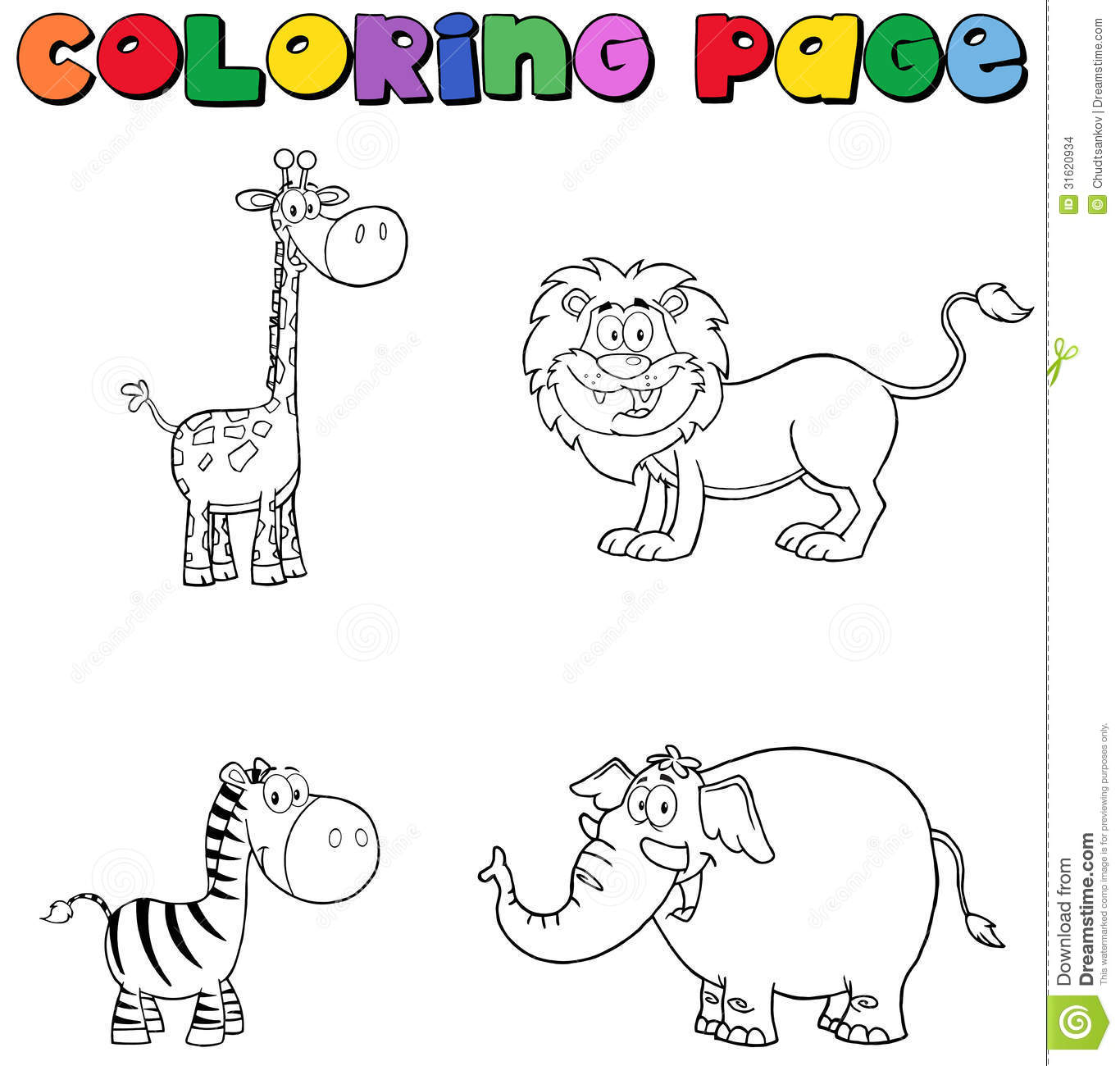 Safari Animals Coloring Pages: Jungle Animals Coloring Page Stock Vector