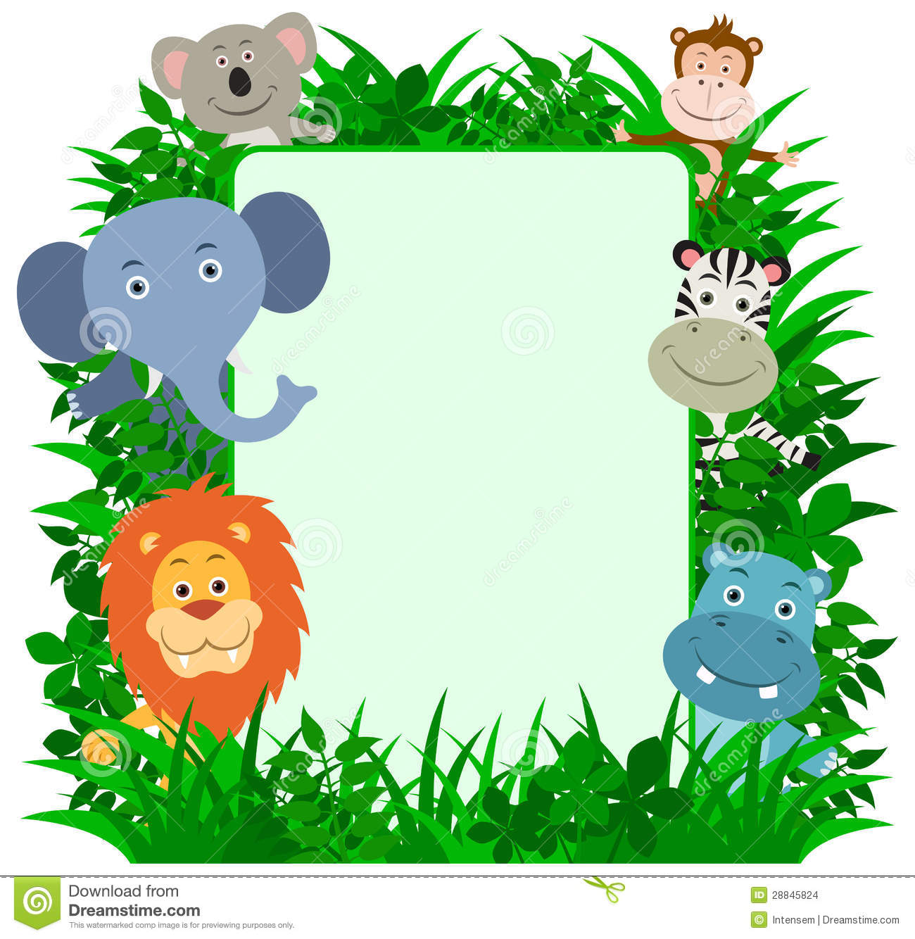Jungle Animals Frame with copy-space. Lion, Elephant, Koala Bear ...