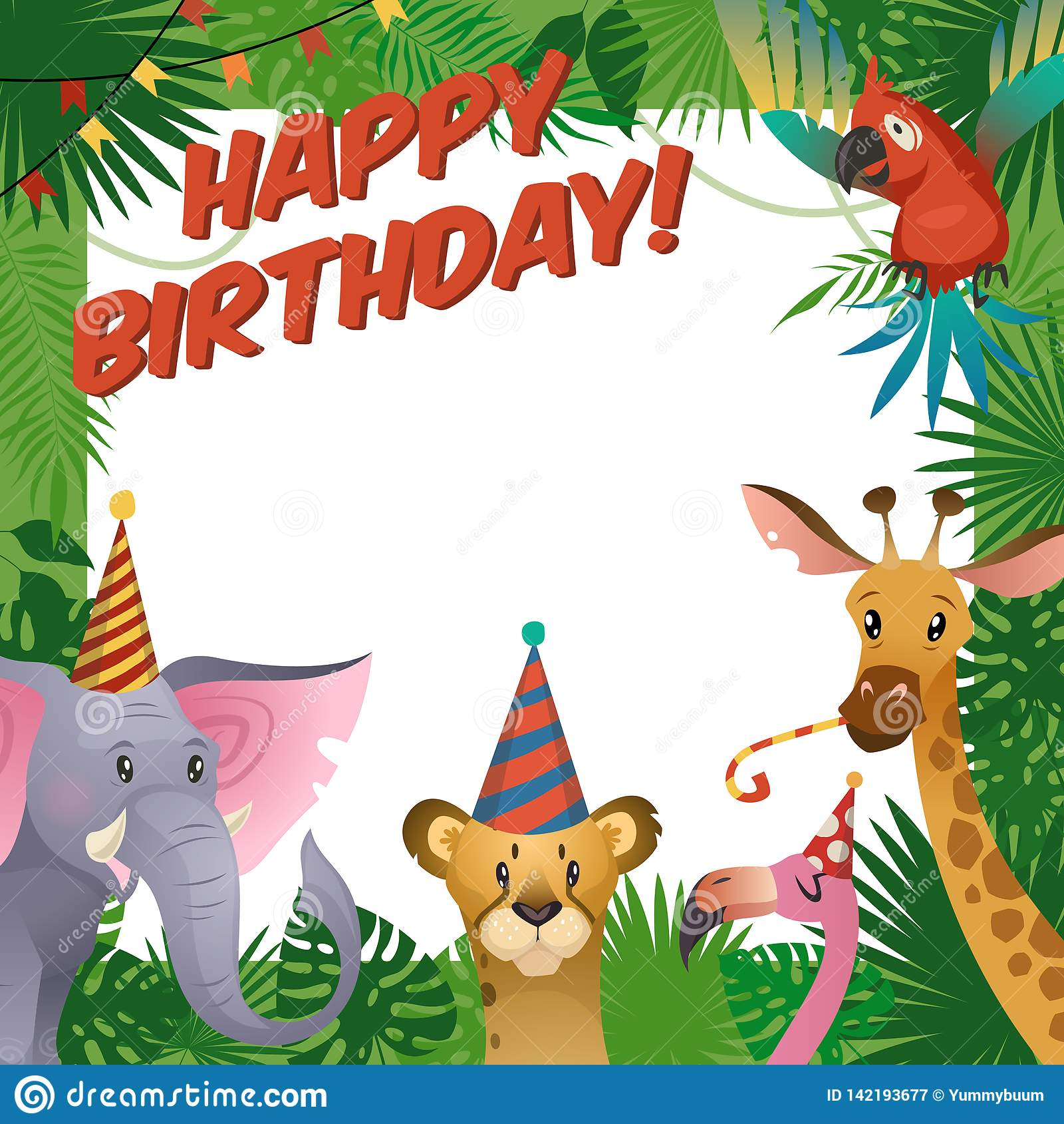 Jungle animals party card. Happy birthday baby shower greeting tropical zoo celebrate kids invitation template
