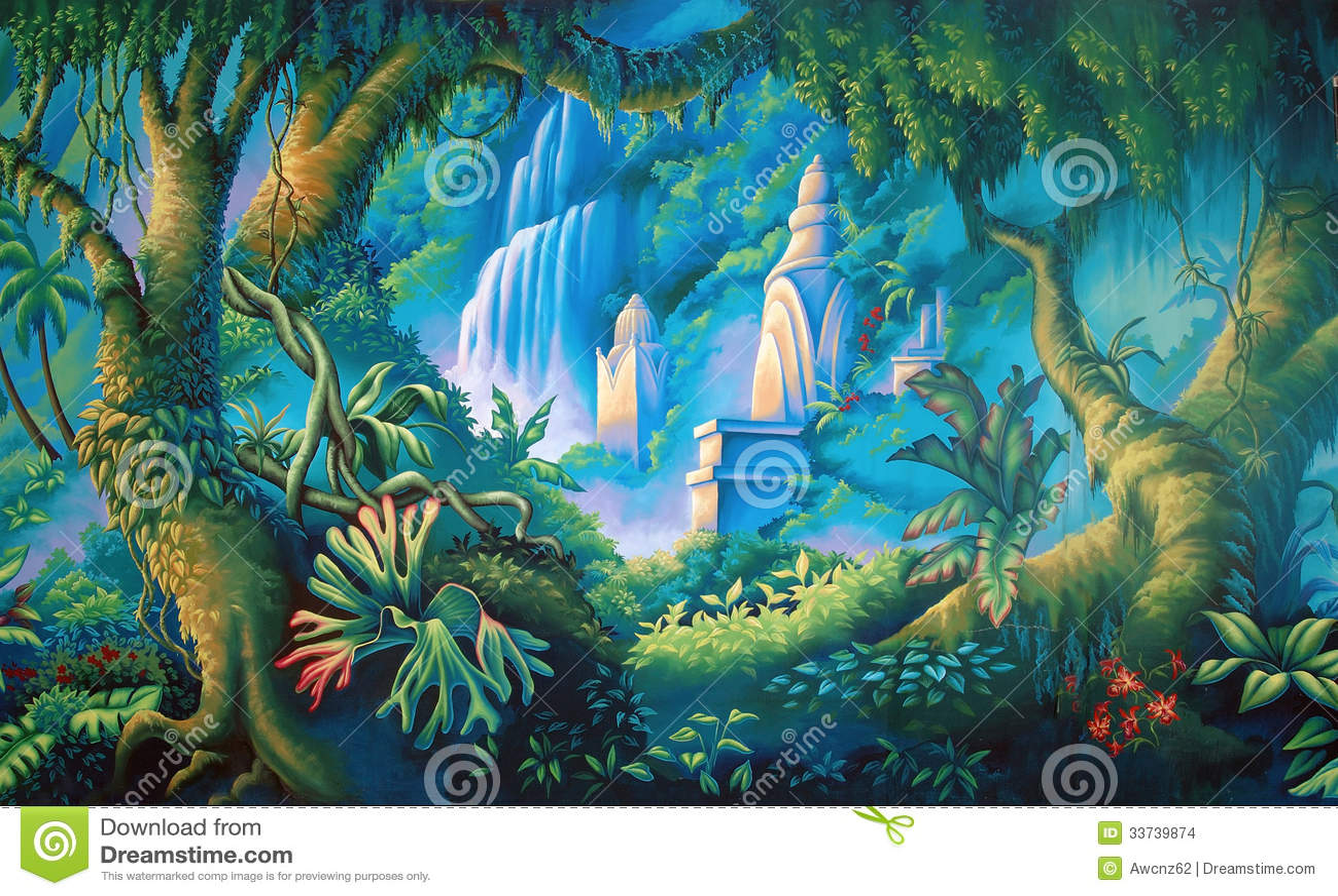 Jungle backdrop stock illustration Illustration of scenic 33739874