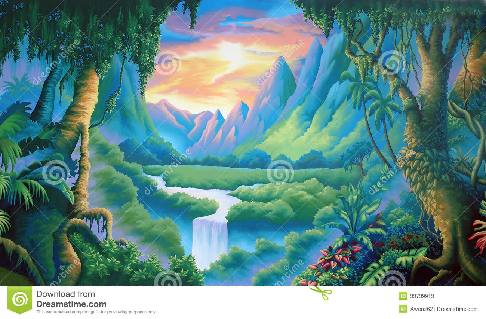 Jungle backdrop stock illustration Illustration of serenity