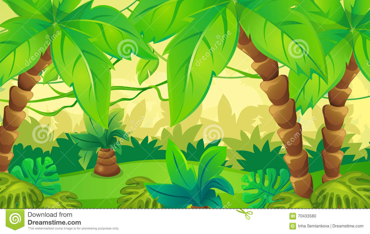 Jungle Background With Palm Stock Vector - Illustration of
