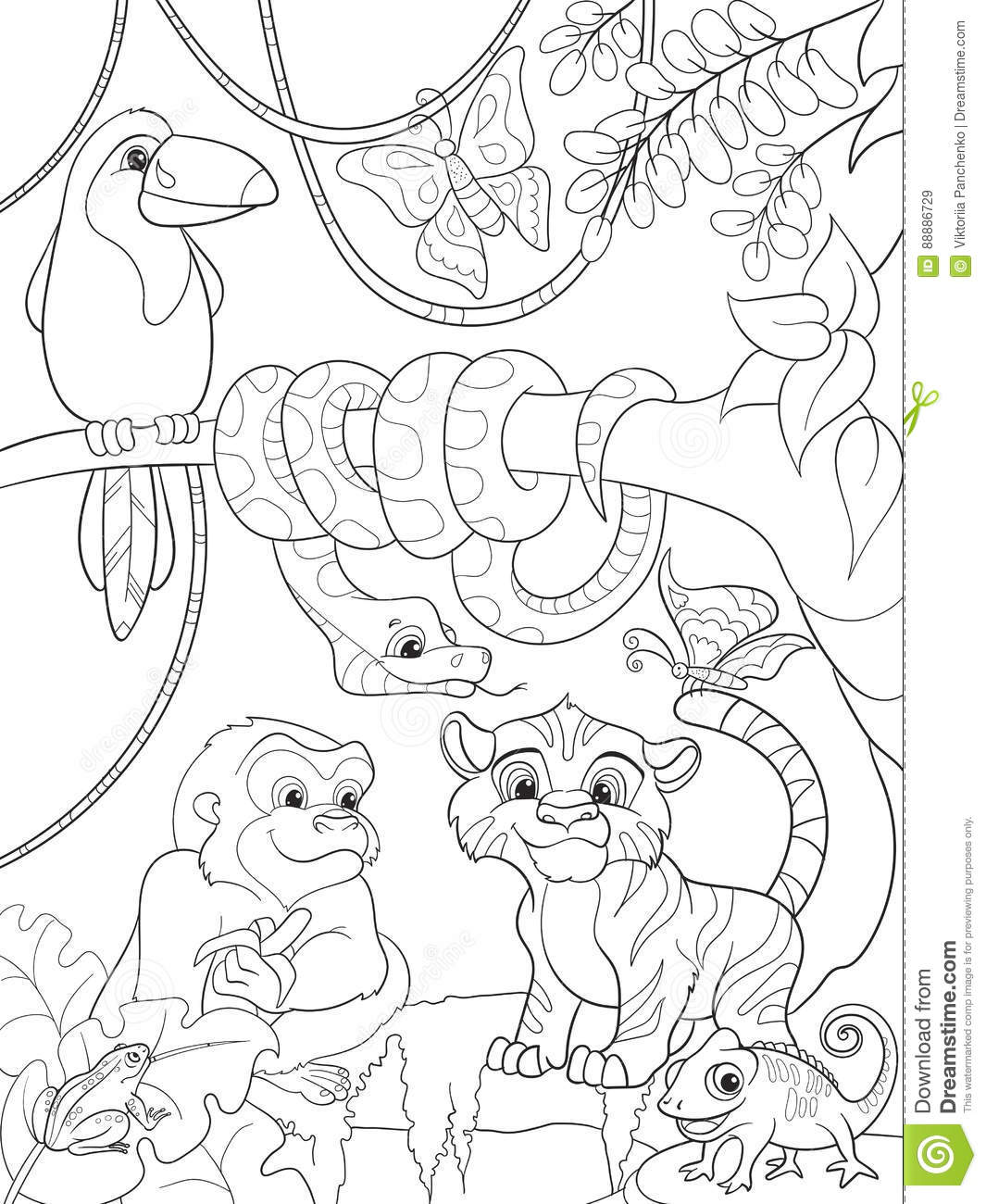Jungle Forest With Animals Cartoon Vector Illustration ...