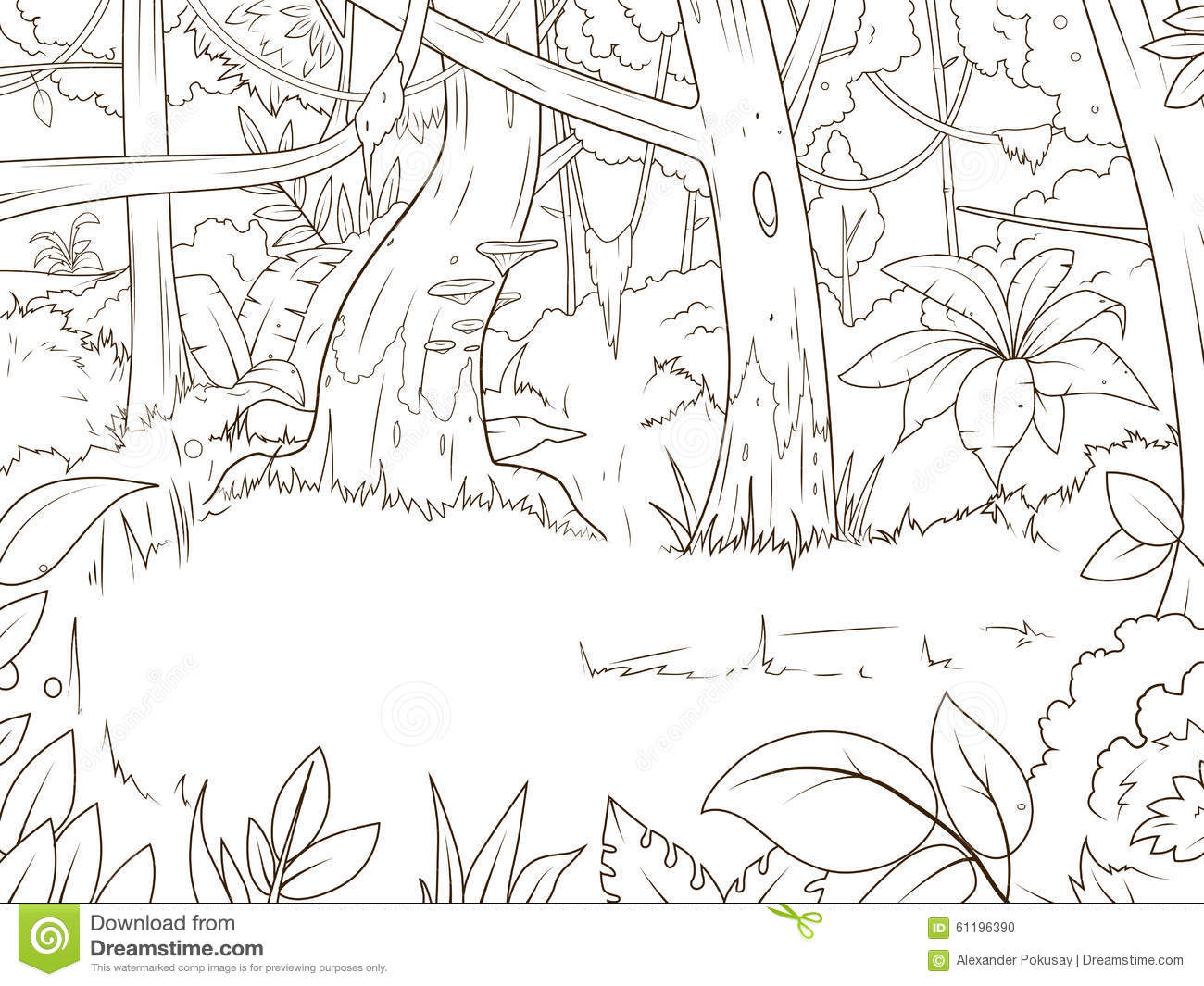 Jungle Forest Cartoon Coloring Book Vector Stock