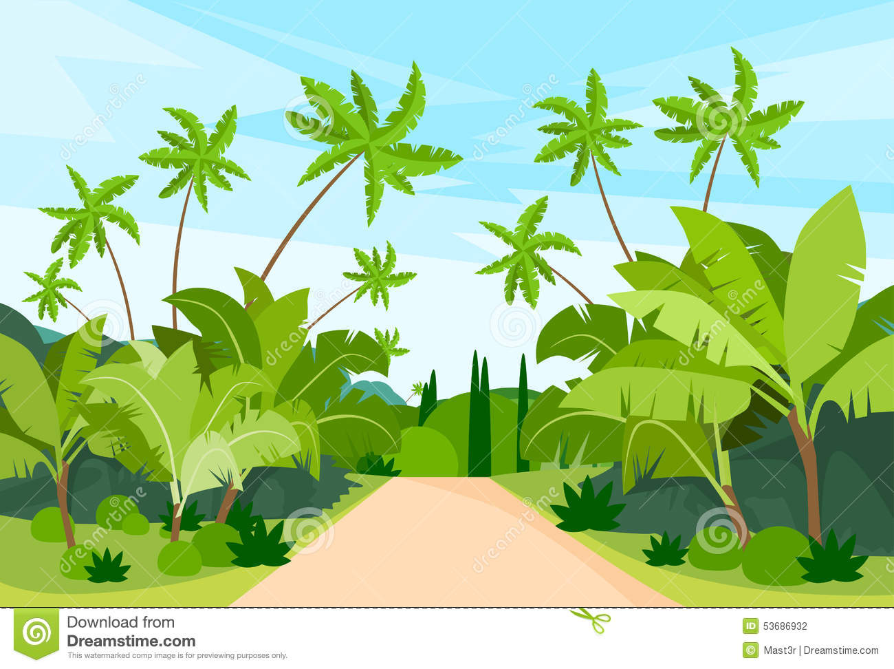 jungle forest green landscape with road path stock vector