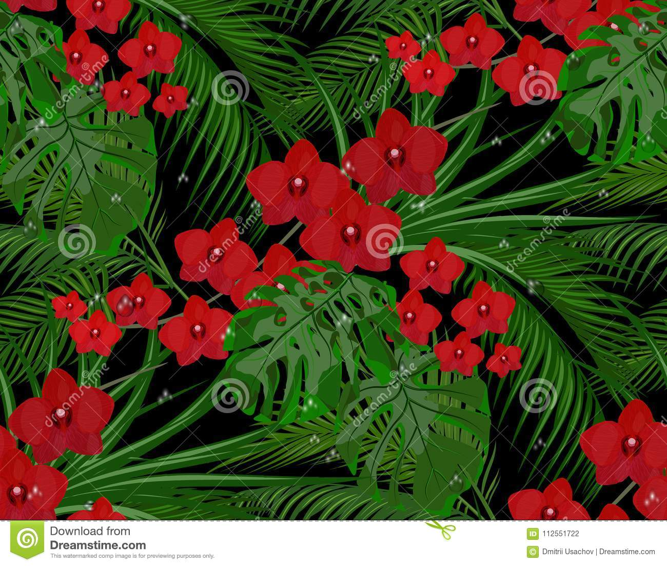 Jungle. Green Leaves Of Tropical Palm Trees, Monstera, Agaves. Red ...